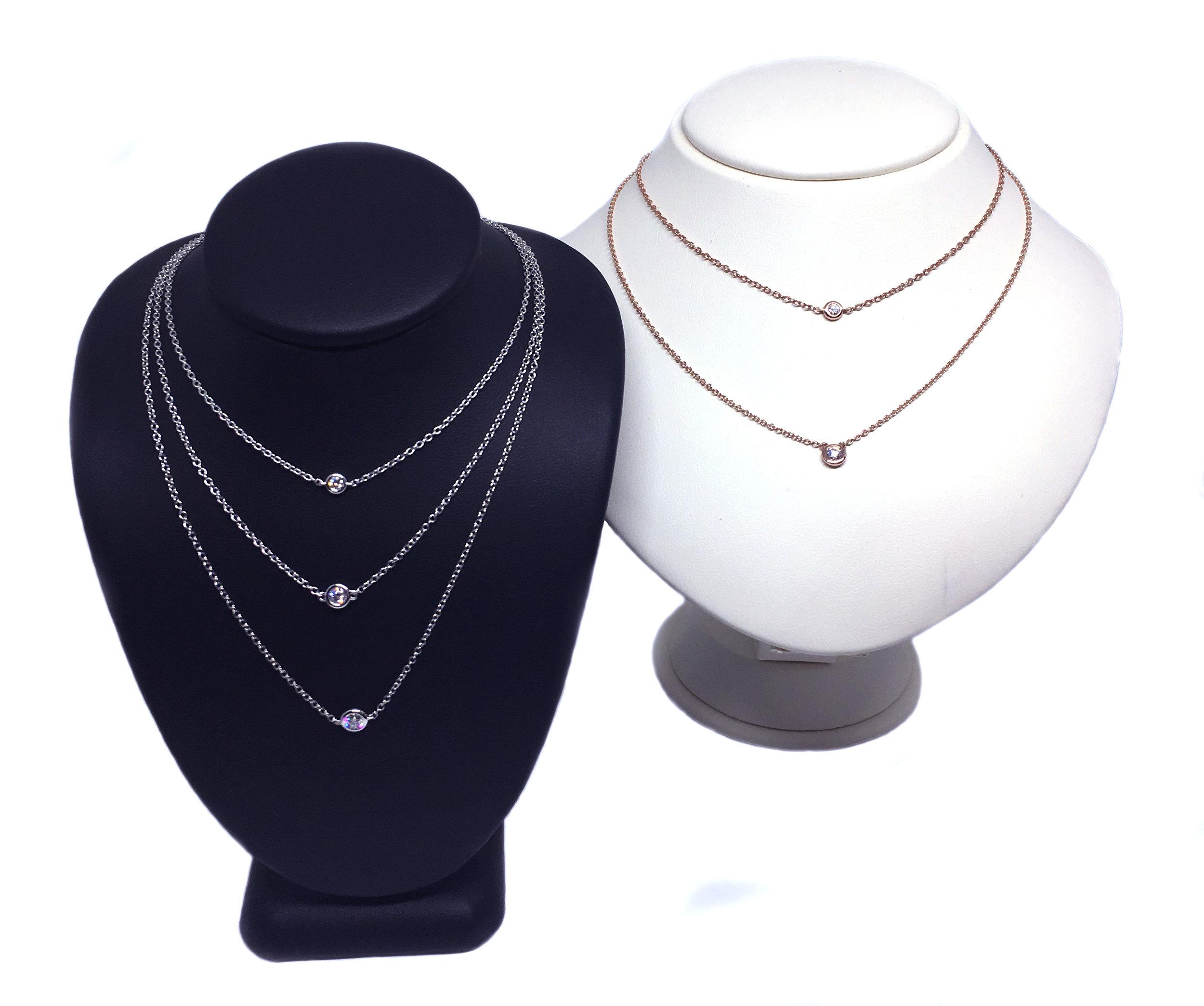14K Gold Solitaire Diamond Necklaces