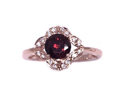 Rose Gold Garnet & Diamond Ring