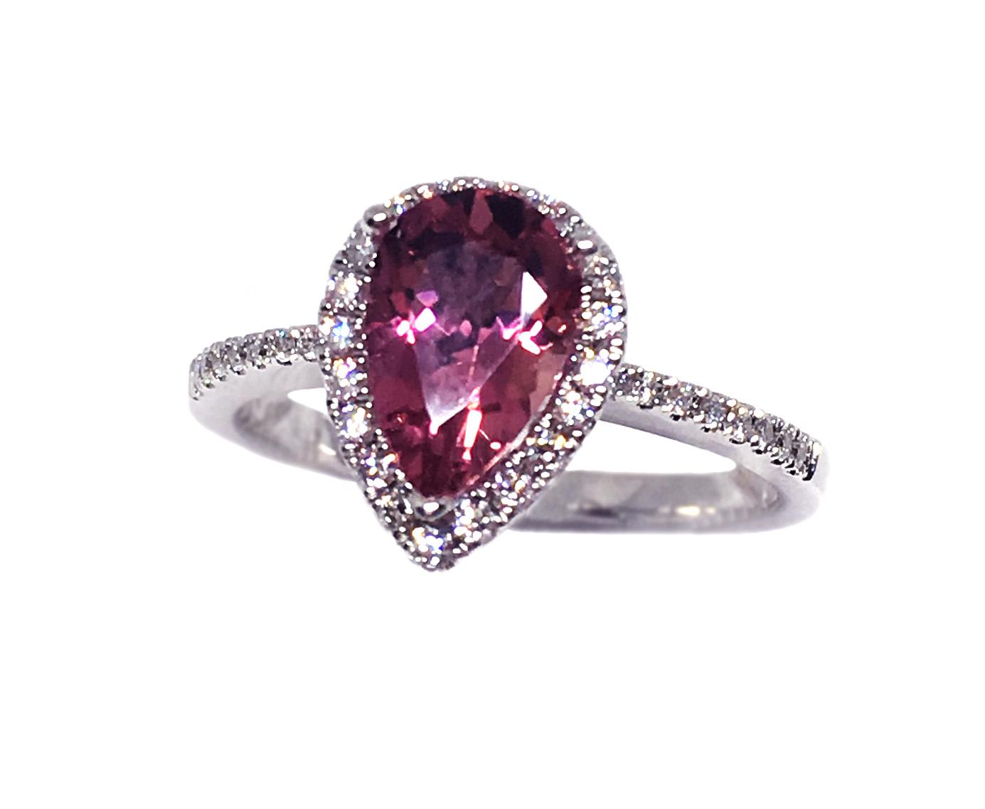 White Gold Morganite & Diamond Ring
