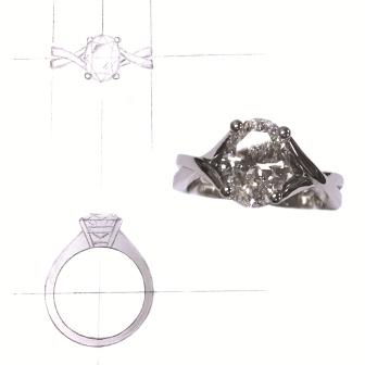 Custom Oval Diamond Ring