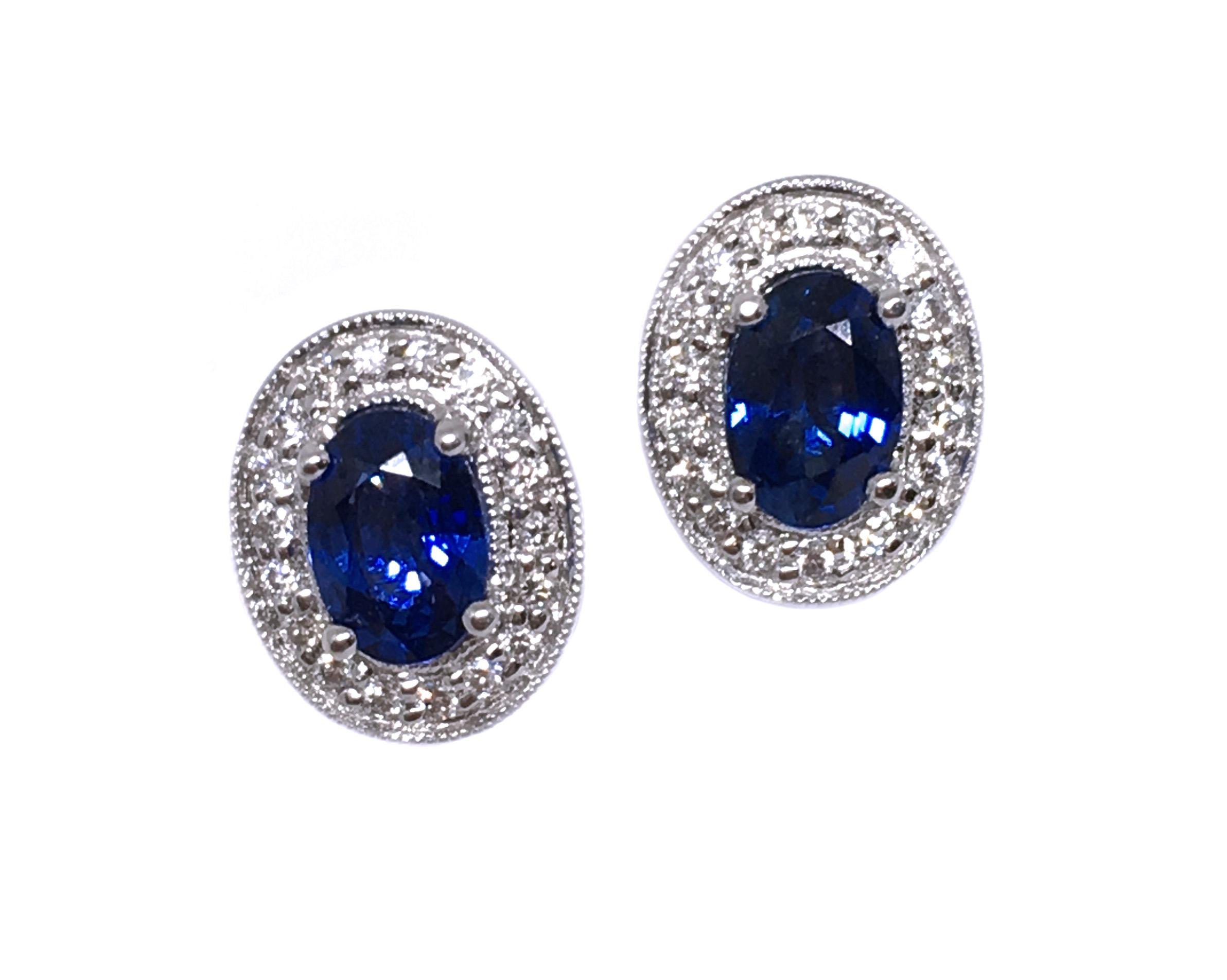 White Gold Sapphire & Diamond Earrings