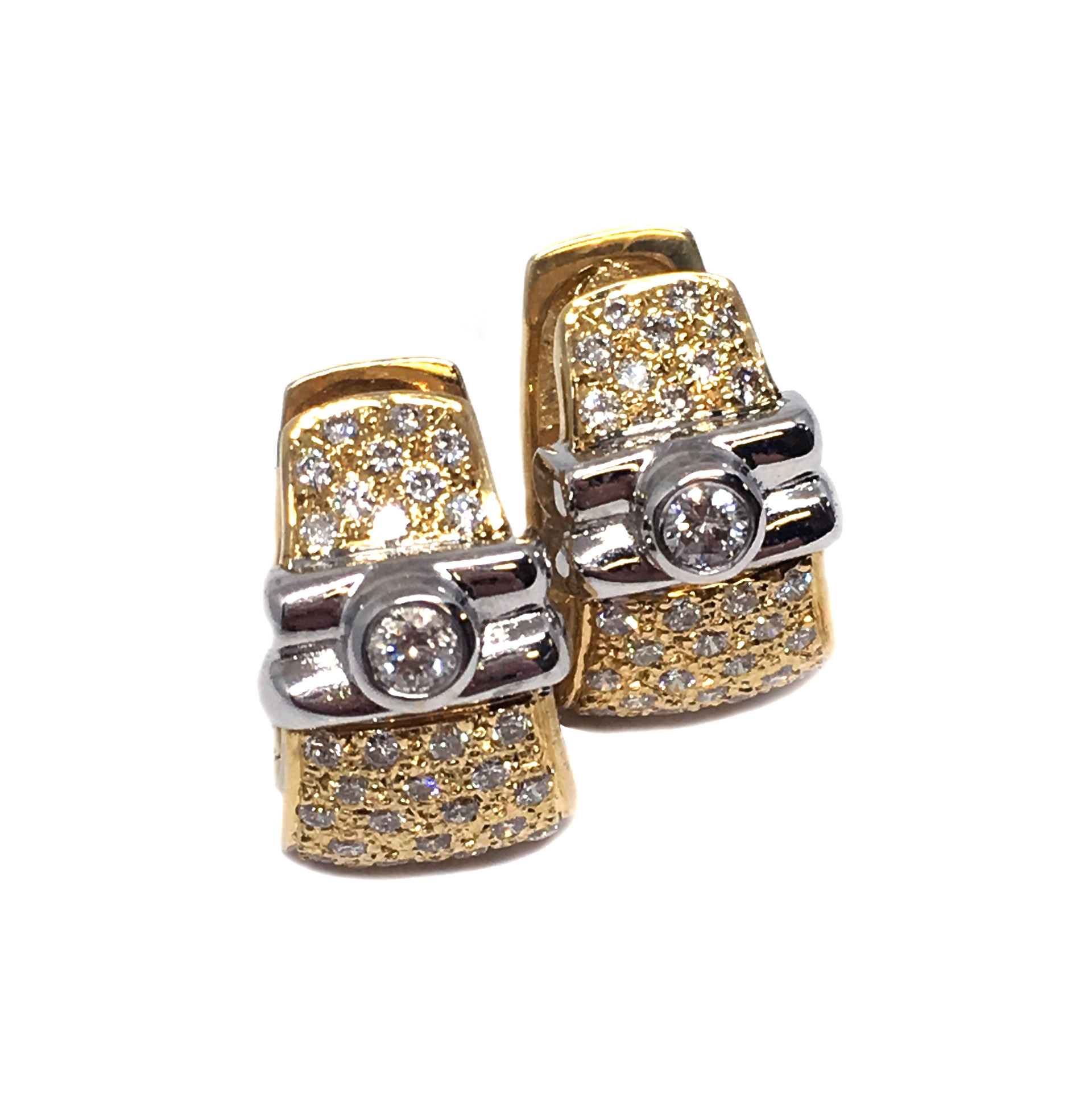 Two-Tone Yellow & White Gold Diamond Earrings