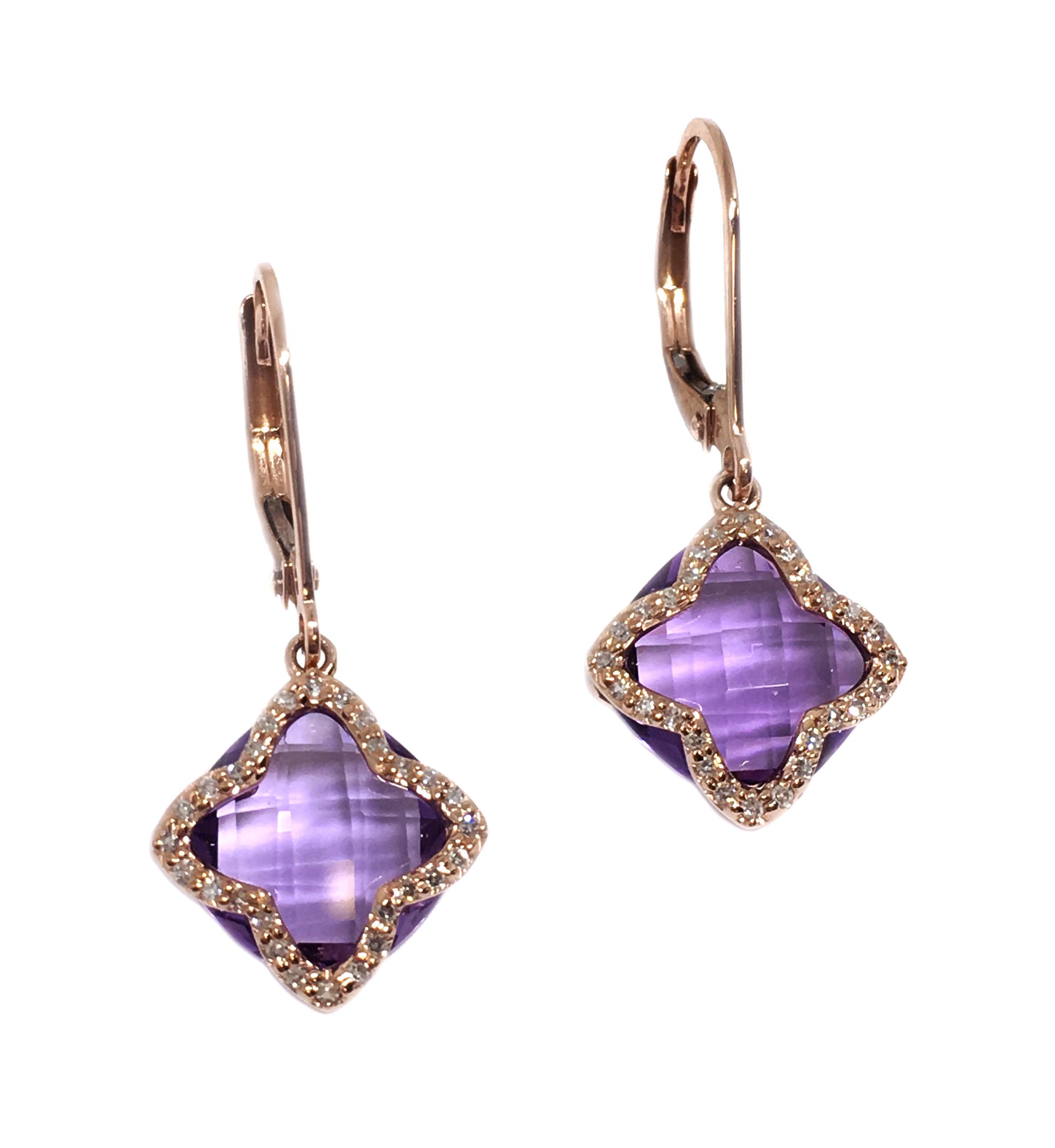 Rose Gold Amethyst & Diamond Earrings