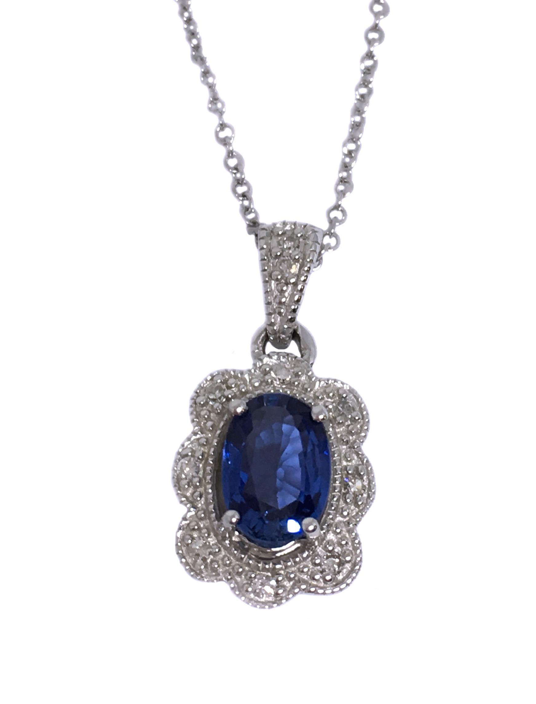 White Gold Blue Sapphire & Diamond Pendant