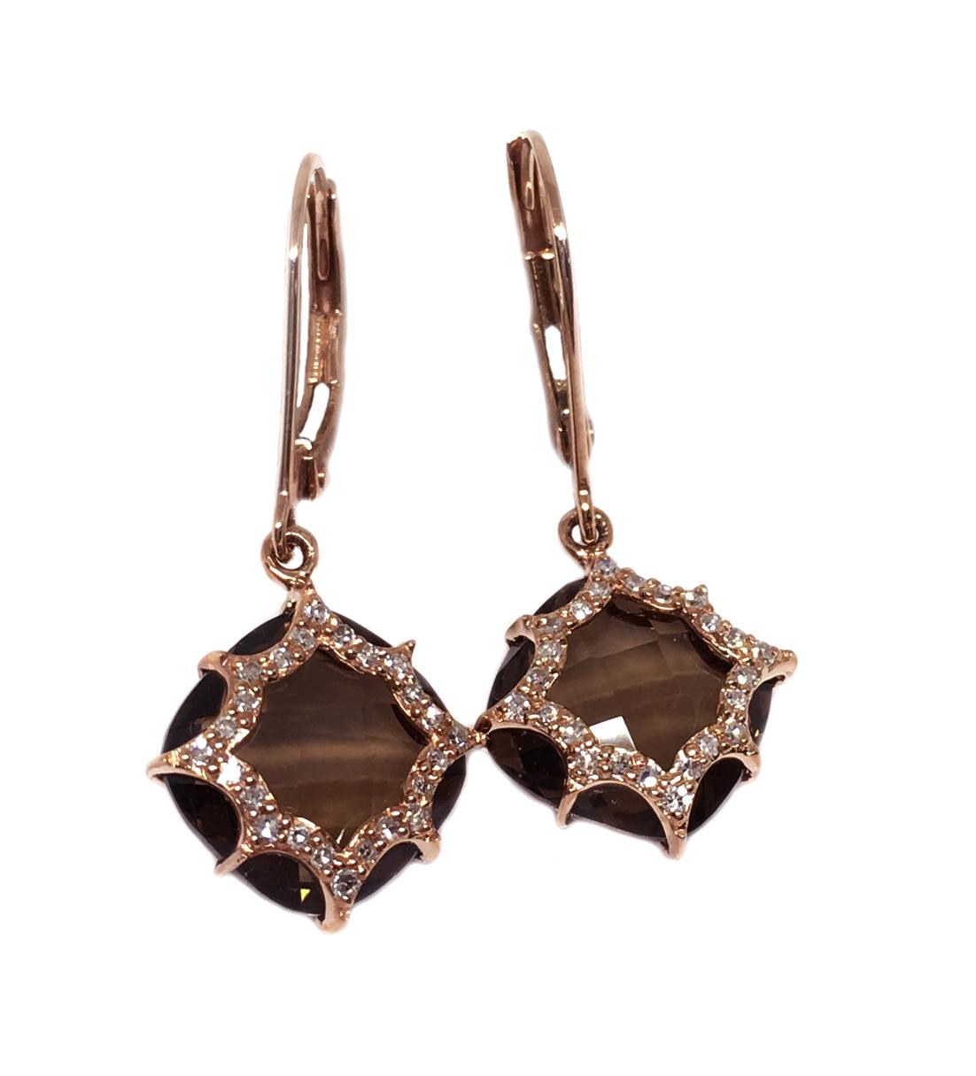 Rose Gold Smokey Quartz & Diamond Earrings
