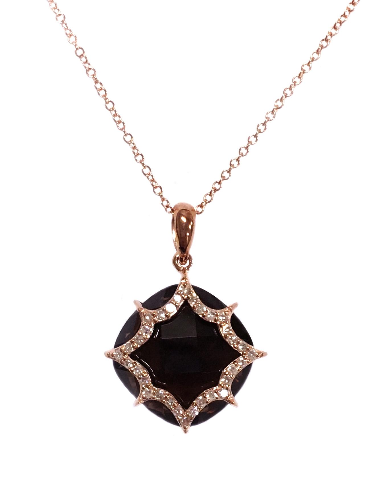 Rose Gold Smokey Quartz & Diamond Pendant