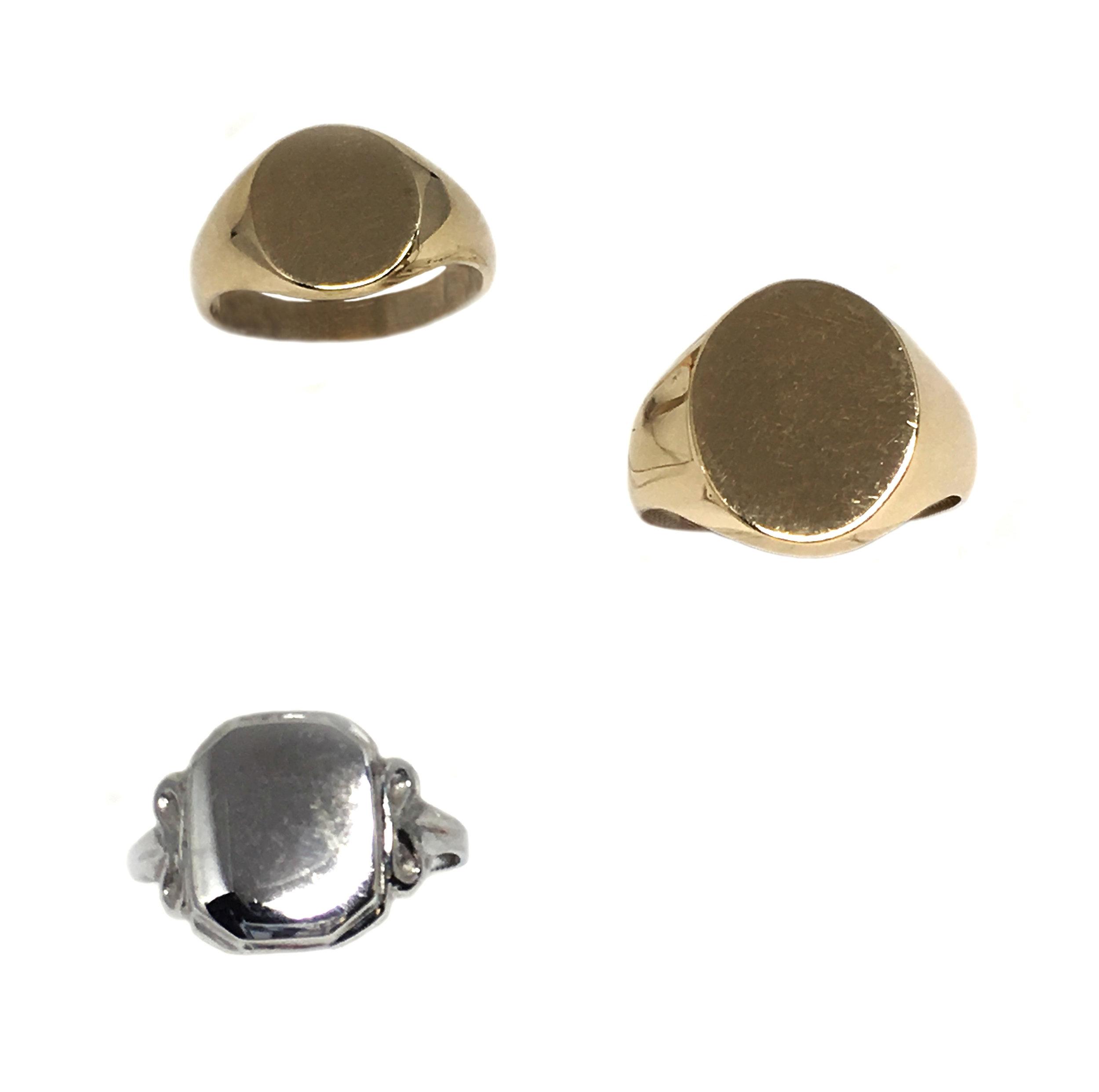 Yellow & White Gold Signet Rings