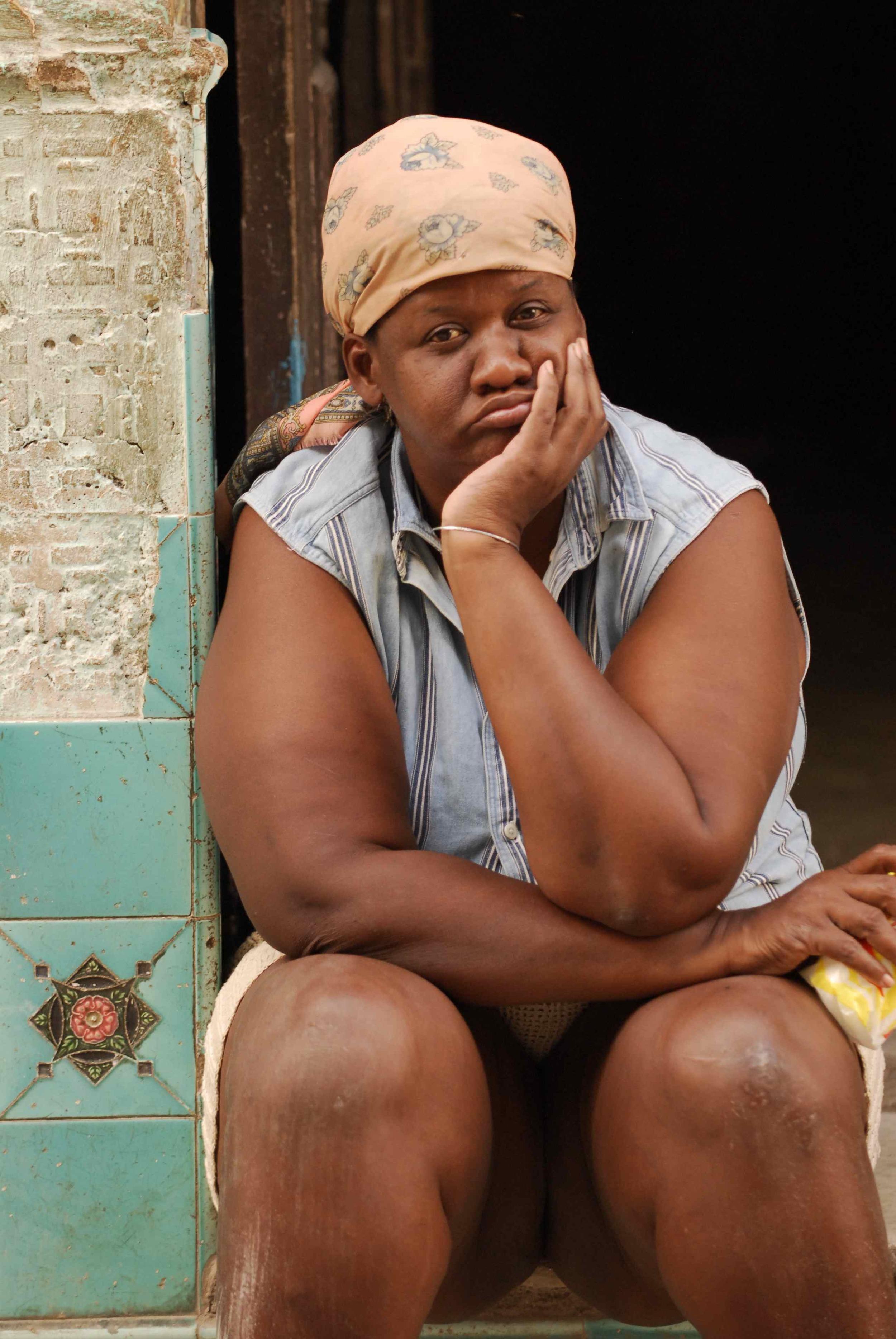 Sad Woman In Doorway