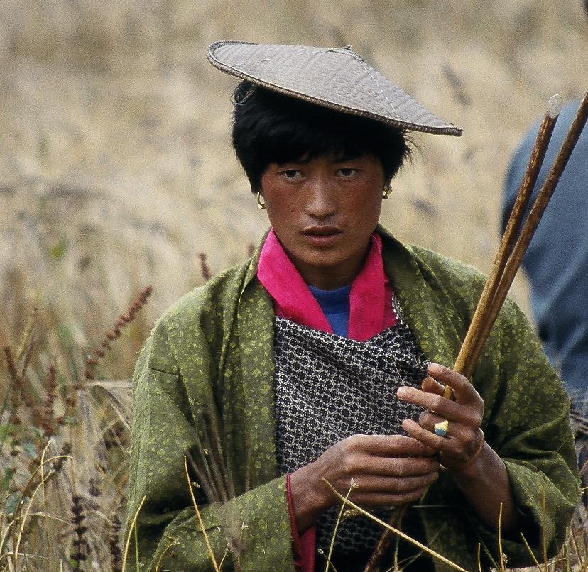 Bhutanese Woman In Field