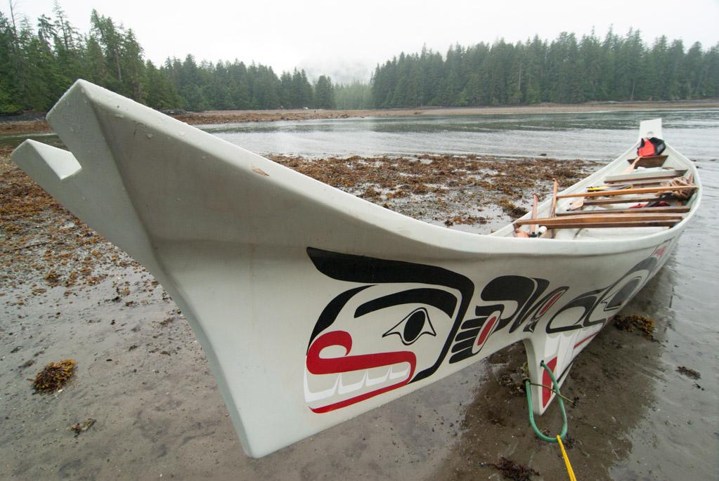 Haida canoe at Hik'yah (Windy Bay)