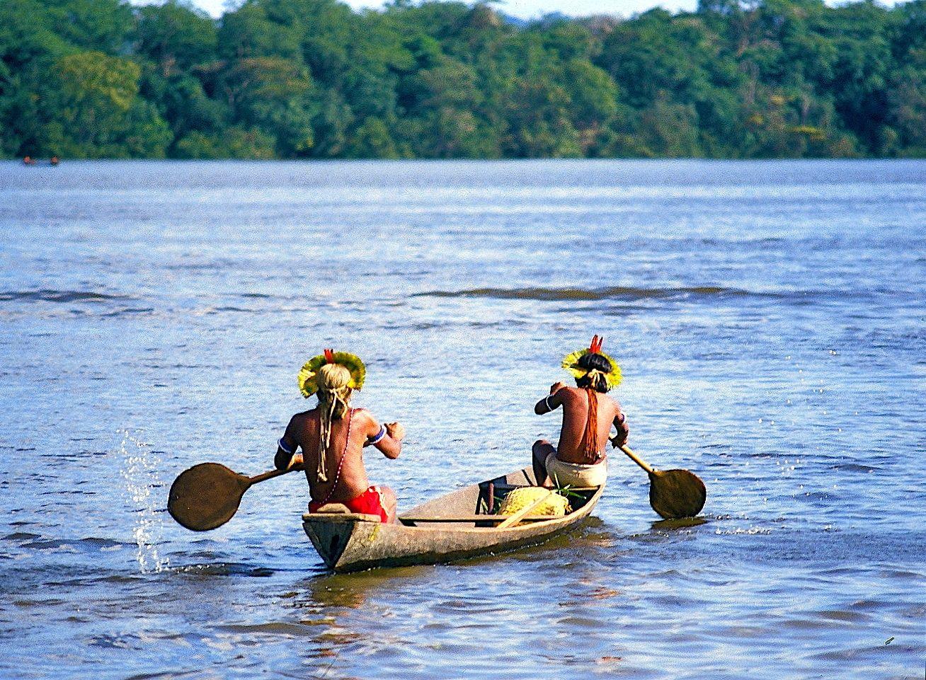 Kayapo men on Xingu River