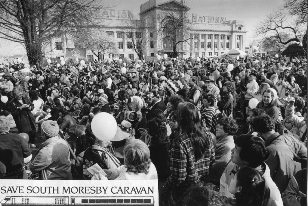 The Save South Moresby Caravan arrives in Vancouver.