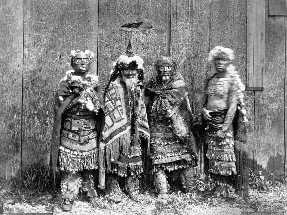 Haida Shamans. Photograph by Edward Dossetter, 1881