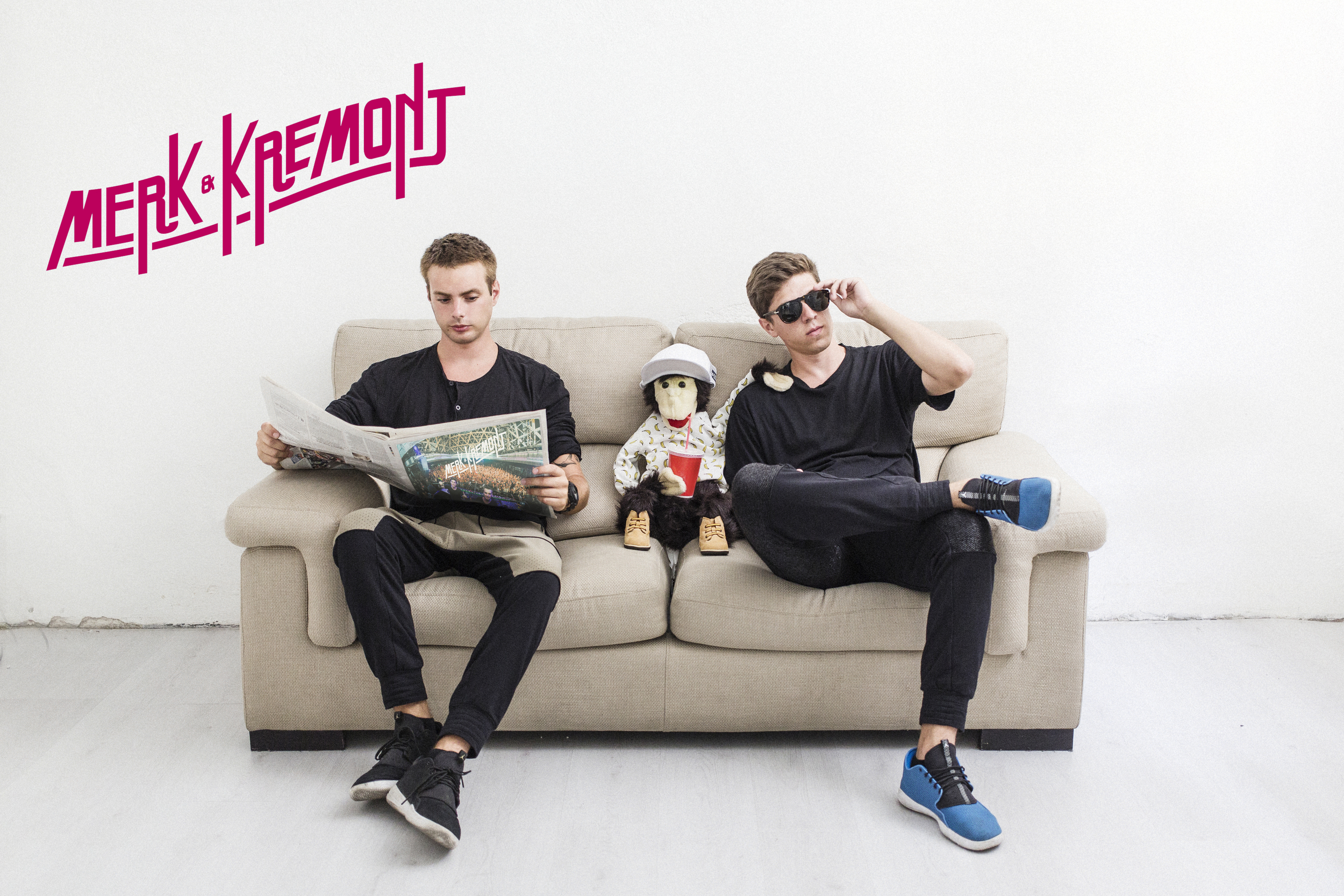 """Merk & Kremont (Fede and Joe) first met in Fede's basement in their home town of Milan. They started talking music, soon realizing they had the same vision, and started working together on a series of bootlegs all the way to their first successful original production, Tundra, in 2013. The Italian duo's musical influences range from Daft Punk to Fedde Le Grand, and the great House classics – and although Joe started out producing Hip-Hop beats whilst Fede was more into Pop–they found the perfect combination of ingredients to develop what is now recognized as their unique sound. A sound that has been described as """"grinding 'n' groovy"""".  Merk & Kremont have received support from huge acts such as Avicii Steve Angello, Hardwell, Nicky Romero, Benny Benassi and many more. They've been unleashing massive club hits for almost two years now and they still have plenty of ammo to shoot for the future. Their tracks have featured on labels like Flamingo, Protocol, Size, Premiere, Revealed, Ultra and Spinnin' and their remix of """"Rather Be"""" by Clean Bandit reached 1M downloads on Soundcloud, played by hundreds of djs all over the world. They have been taking their unique grindingly groovy sets all over Europe, Asia and North America and have played, among others, Pacha (Ibiza), LIV (Miami), Drai's (Las Vegas).   Their latest hit 'Get Get Down' is something of a viral phenomenon thanks also to its insanely entertaining video and its their first track to enter the Beatport chart in the top 10. The sky is the limit for Merk & Kremont and they're climbing the dance ladder one sick beat at a time."""