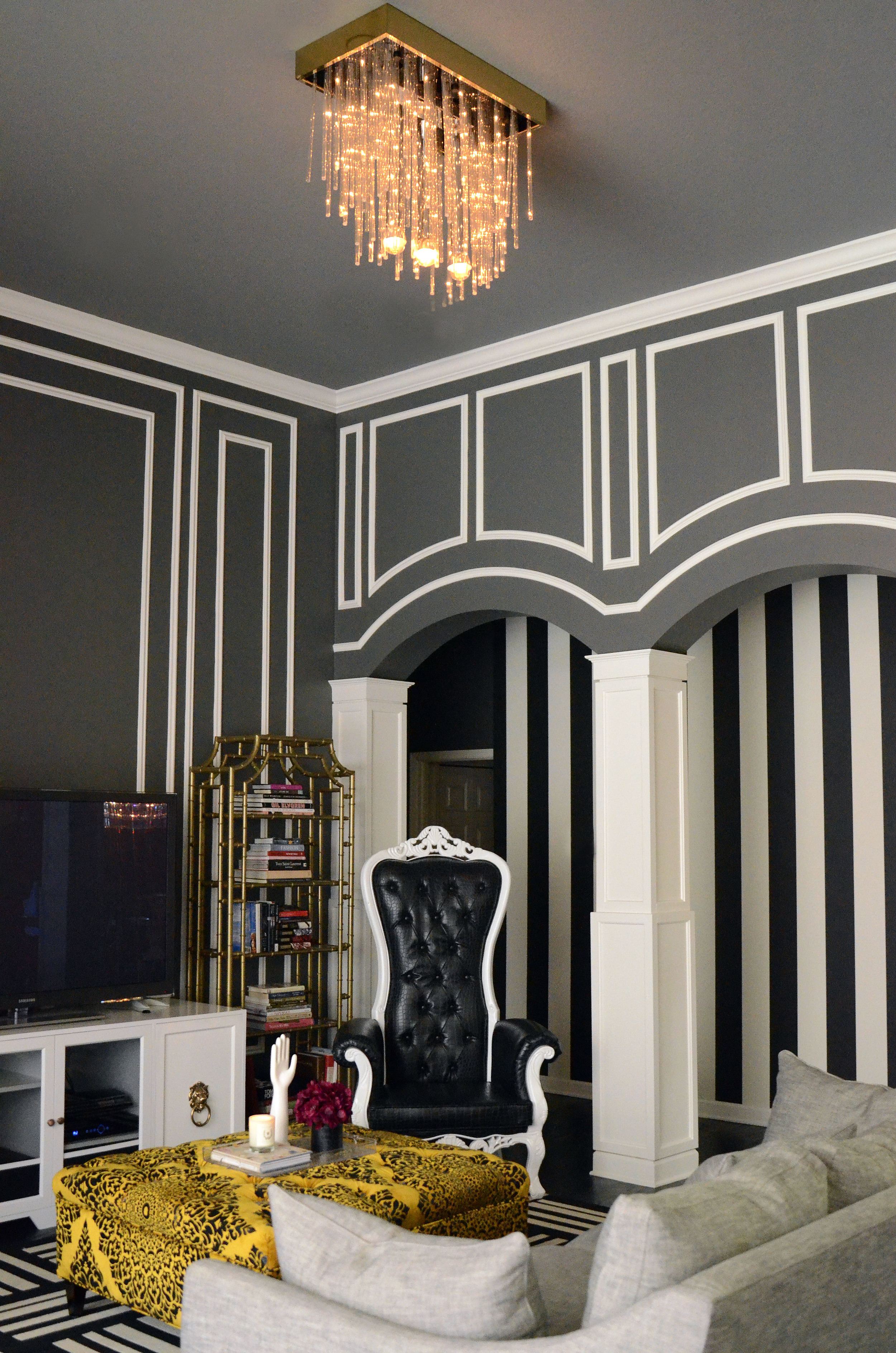 Image Credit   Maybe a little more glam and whimsical is your style? This  Hollywood Regency  inspired residence is a project that I got to have a lot of fun with stripes - and mixing different patterns in with it.