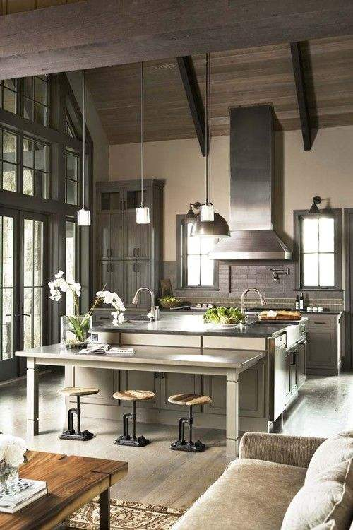 Image Credit    I really love gray in kitchens, to me it makes such a clean non fussy palette for preparing beautiful meals.