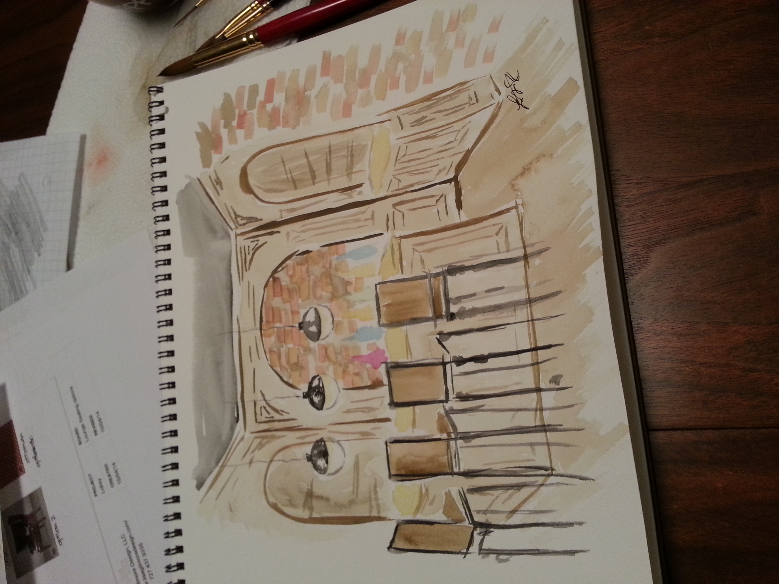 Custom Bar Area, Mantuary Sketch by principal designer, Lisa