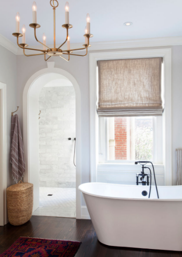 Image featured in   Lonny  , showcasing recessed can lights and beautiful chandelier.