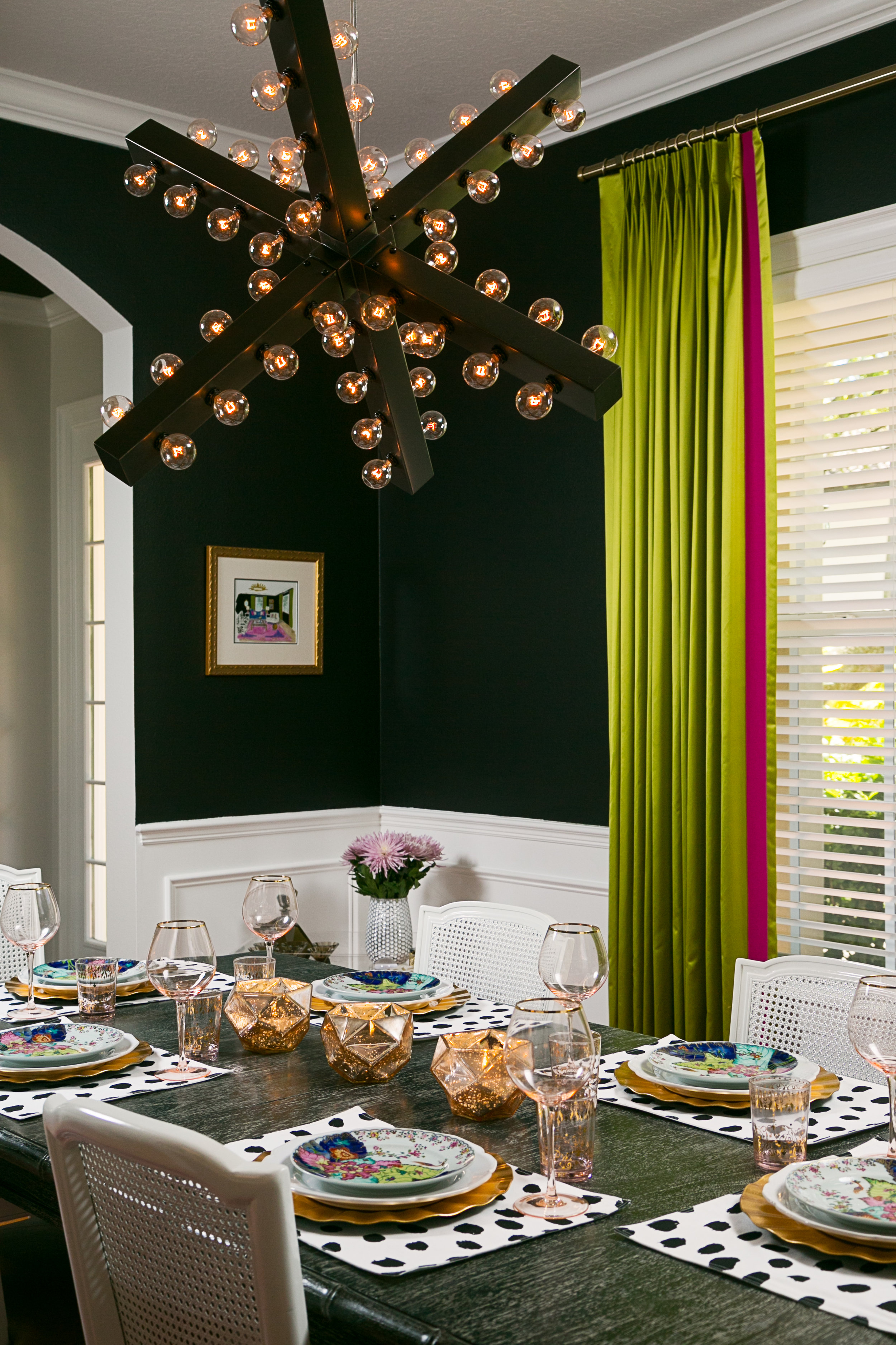 unique edison bulb dining room lighting - lisa gilmore design