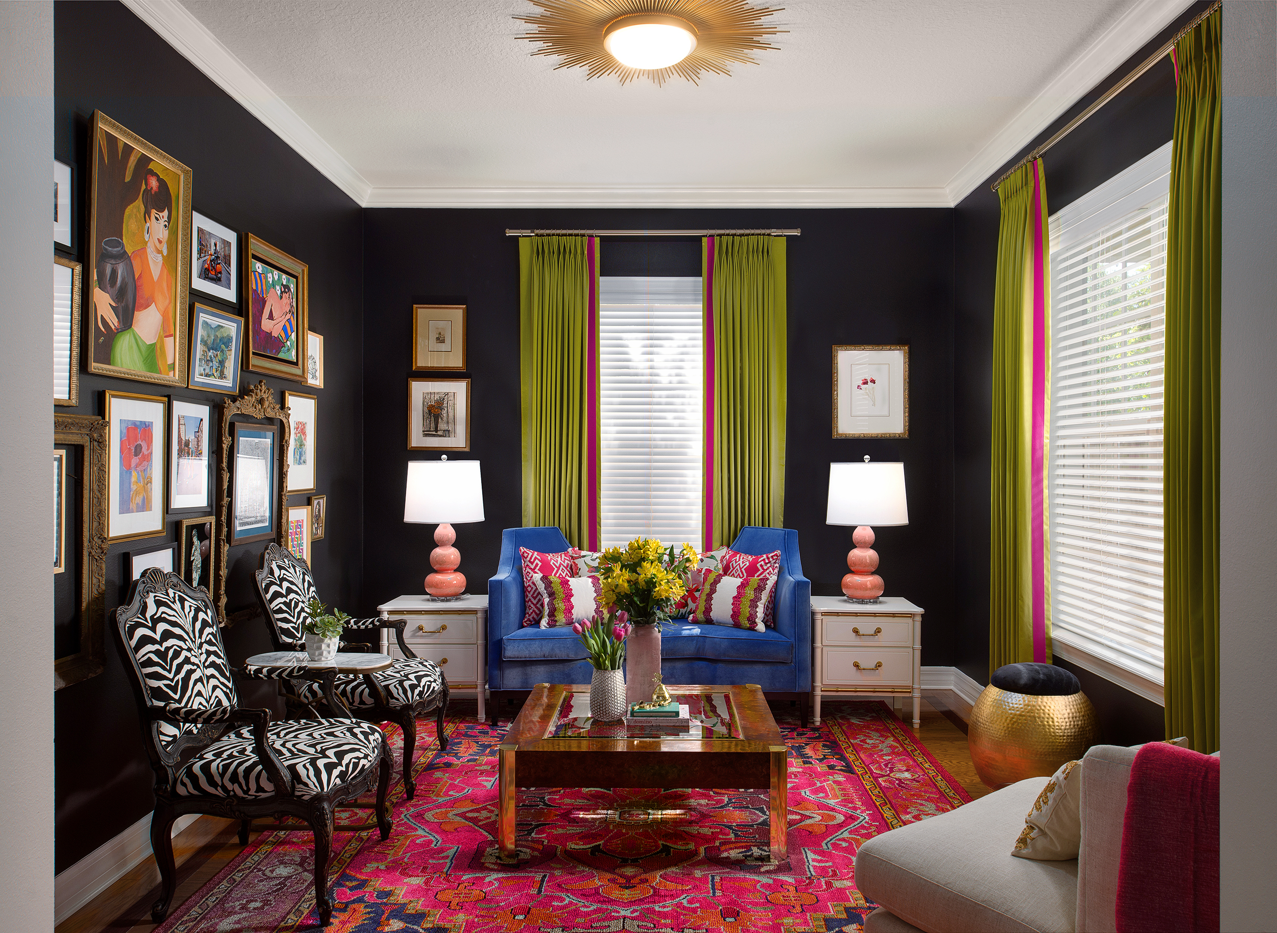 colorful formal living room_black walls_eclectic style_lisa gilmore design
