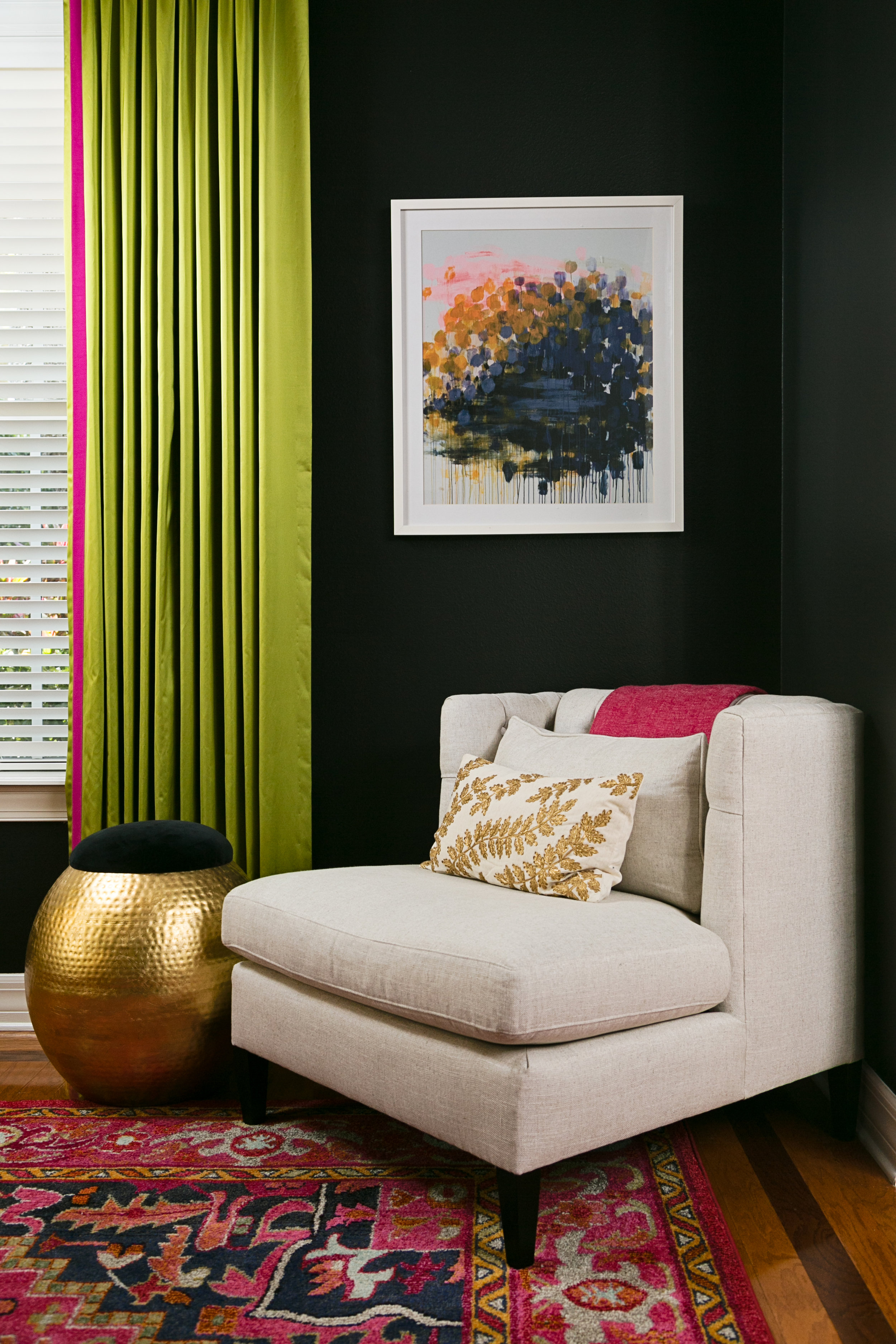 eclectic living room_black walls_lisagilmoredesign