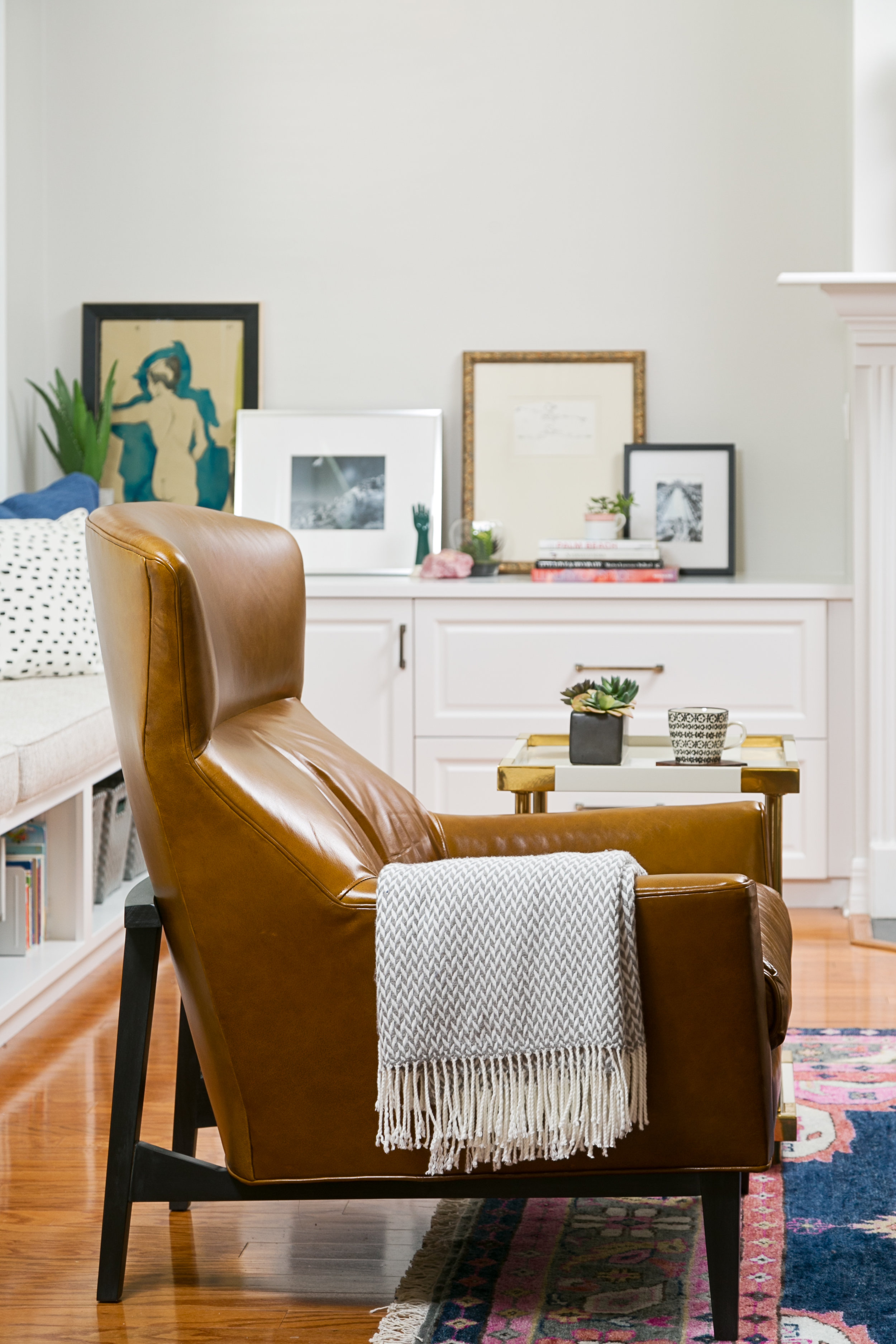 MODERN LEATHER CHAIR COGNAC | LISA GILMORE DESIGN