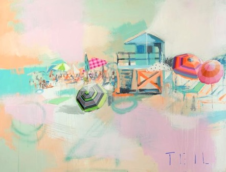 "Teil Duncan, ""Turquiose Hut,""  36"" x 48"" original acrylic painting on birch wood panel. ( https://www.teilduncan.com/collections/beaches/products/copy-of-south-beach-sorbet-36x48 )"