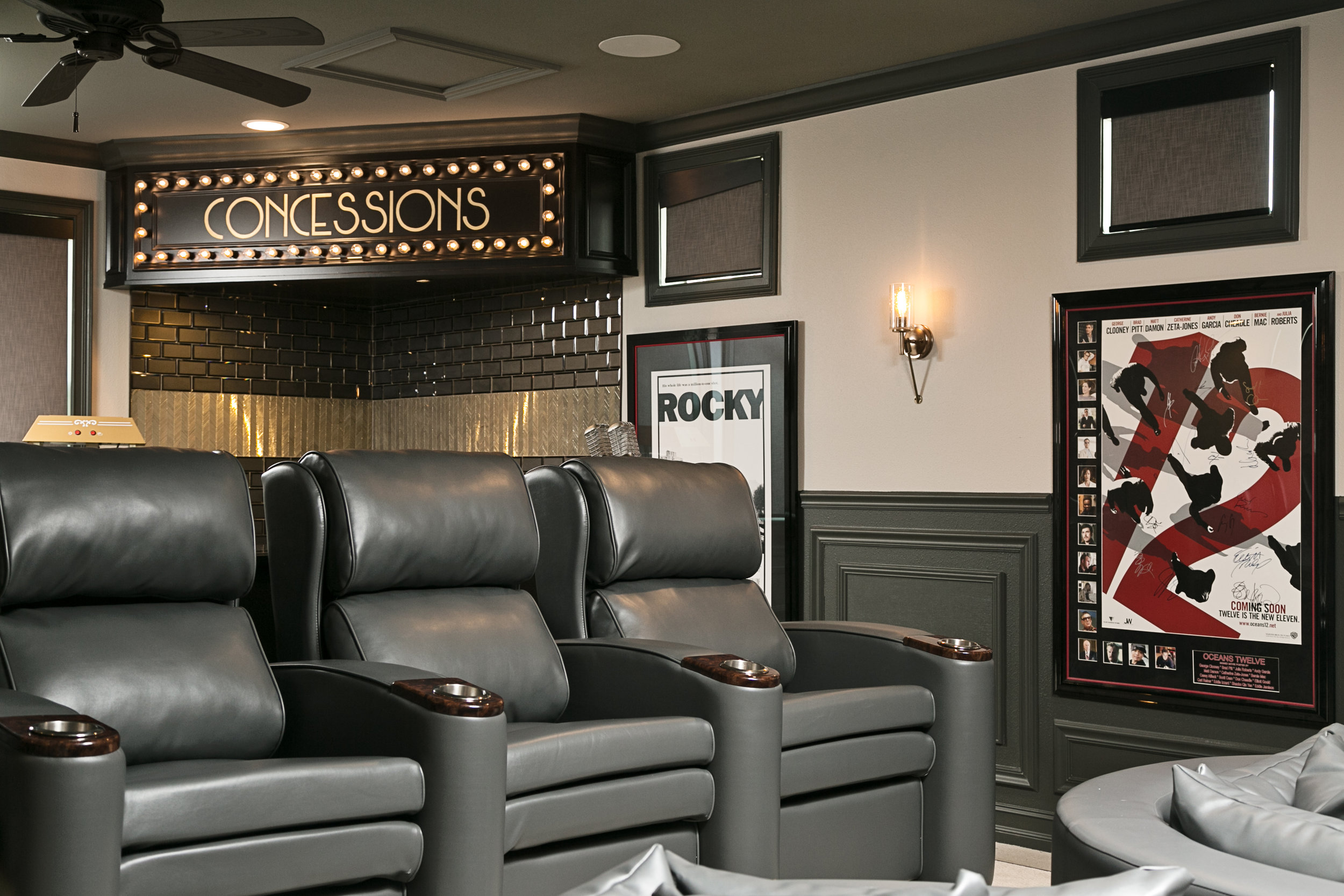chic gray home theater