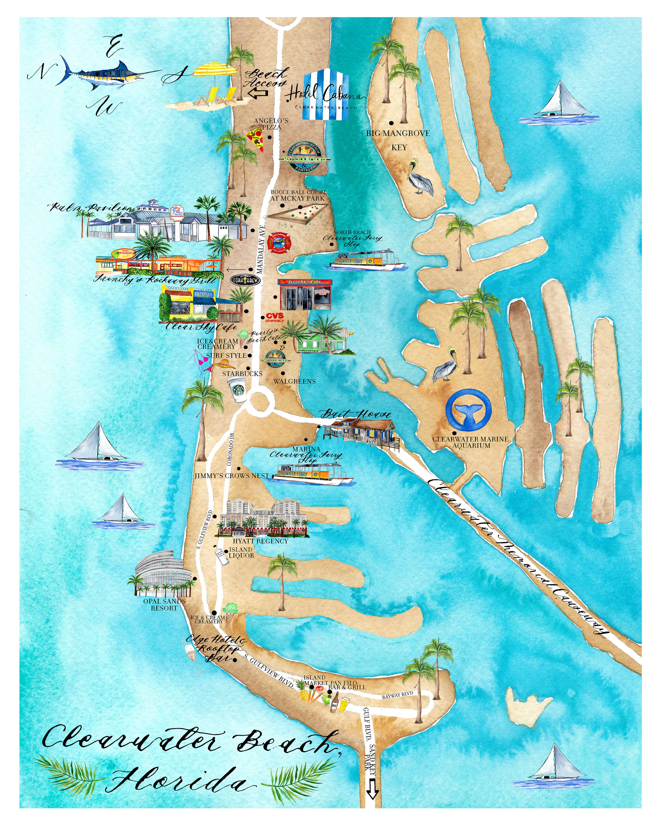 Custom Art Project : : Clearwater Beach Map — LISA GILMORE ... on eckerd college map, coral springs fl map, miami seaquarium map, downtown clearwater map, fort de soto park map, mystic aquarium map, discovery cove map, jacksonville zoo and gardens map, palm beach zoo map, university of tampa map, shedd aquarium chicago map, sand key beach map, tampa convention center map, tampa general hospital map, busch gardens map, st. pete clearwater map, raymond james stadium map, tarpon springs sponge docks map, national aquarium in baltimore map, cypress gardens map,