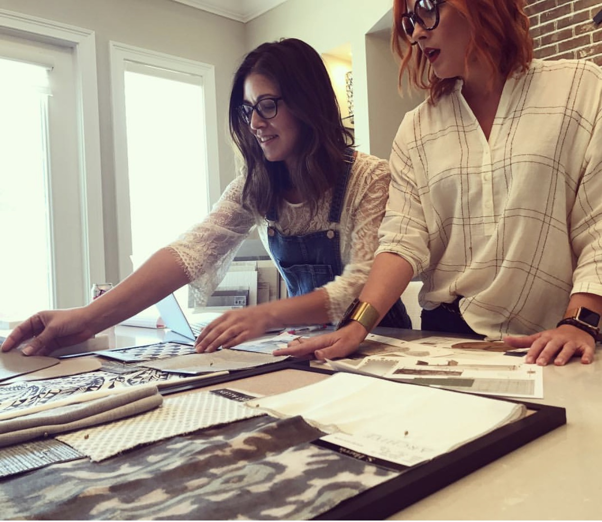 Lisa & Nicole working on editing a residential project located in Boston, MA. | Lisa Gilmore Design
