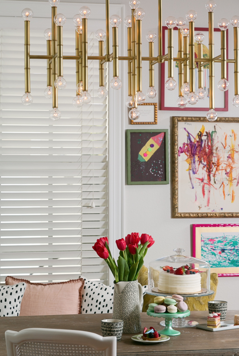 Spotted! A lovely vase to add to the fun and whimsy of this kitchen nook- designed by Lisa Gilmore Design