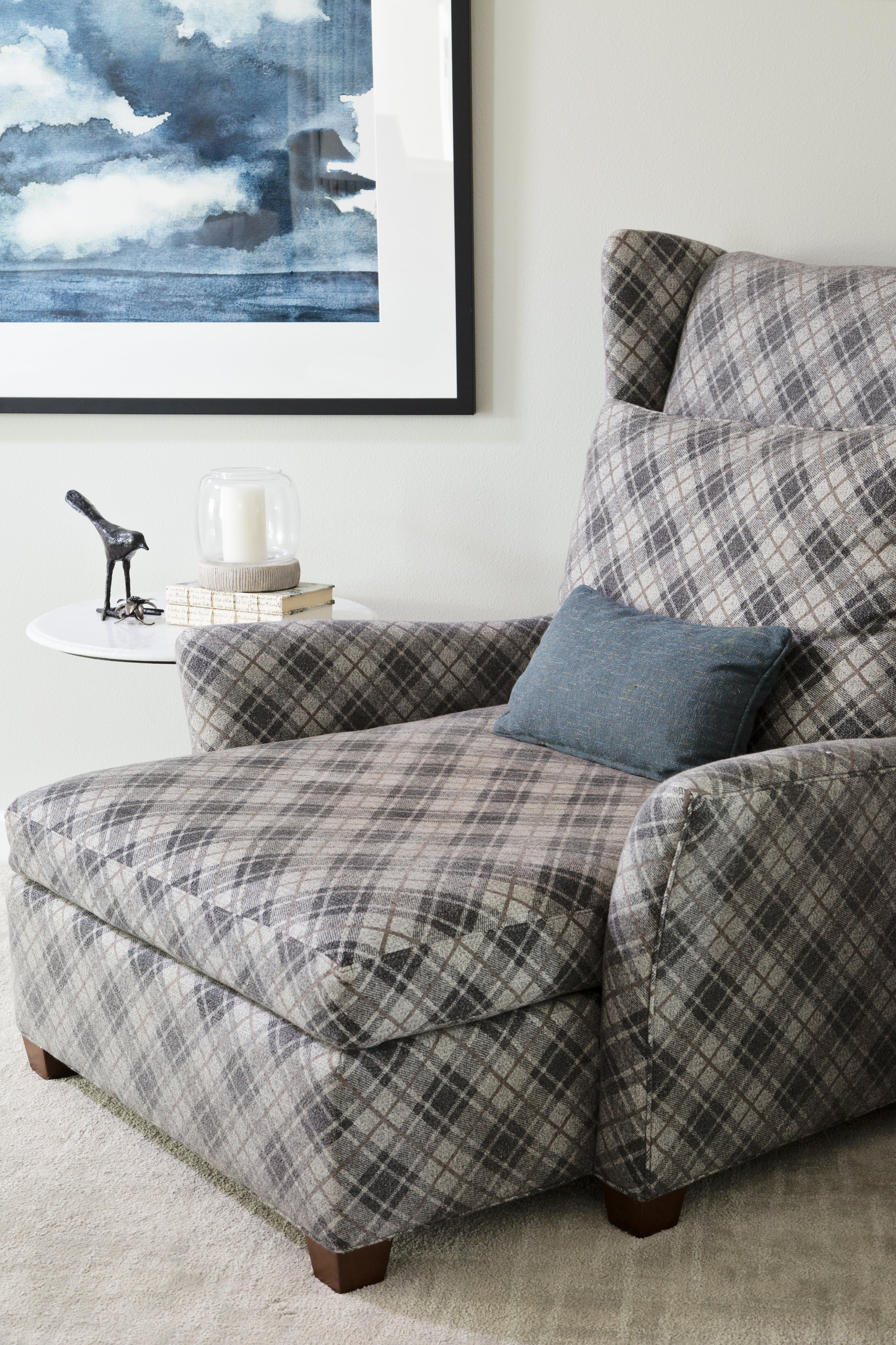 The Coziest Chair and a Half Upholstered in the Softest Plaid Fabric