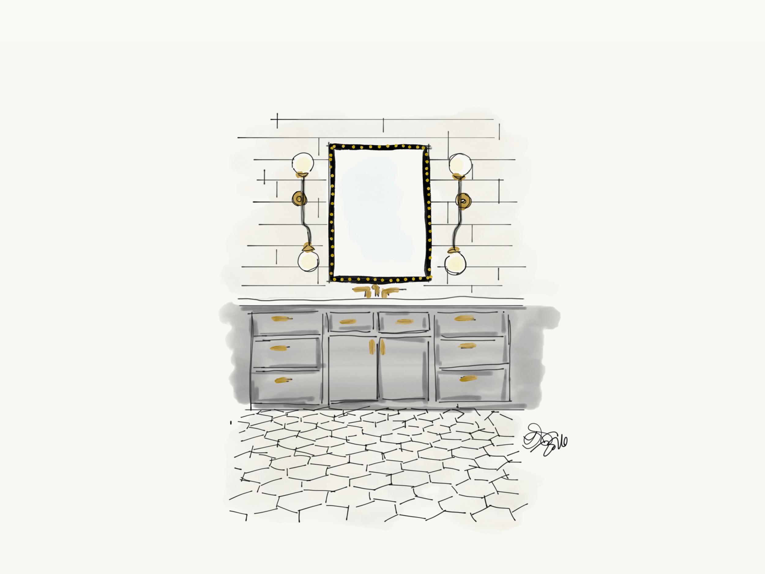 Original concept sketch for master bathroom.