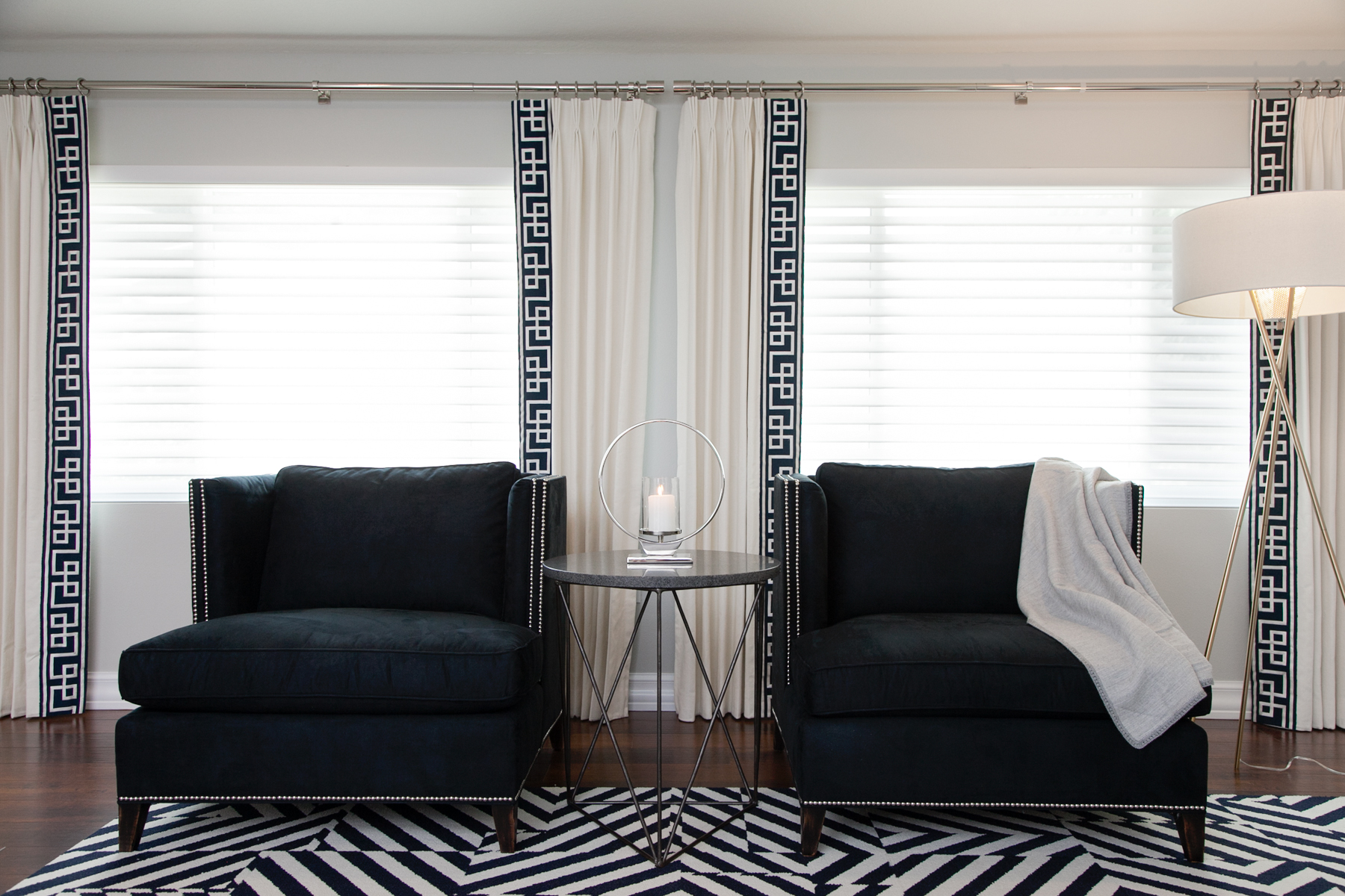 Navy & white family room by Lisa Gilmore Design