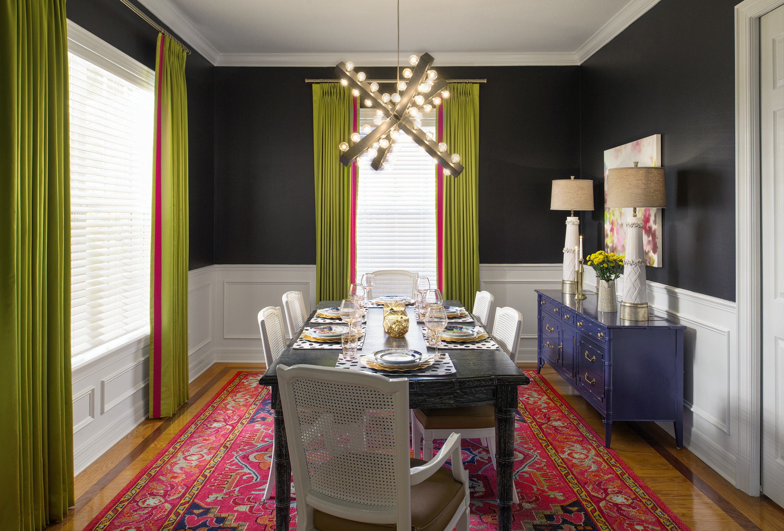 Eclectic colorful dining room by Lisa Gilmore Design