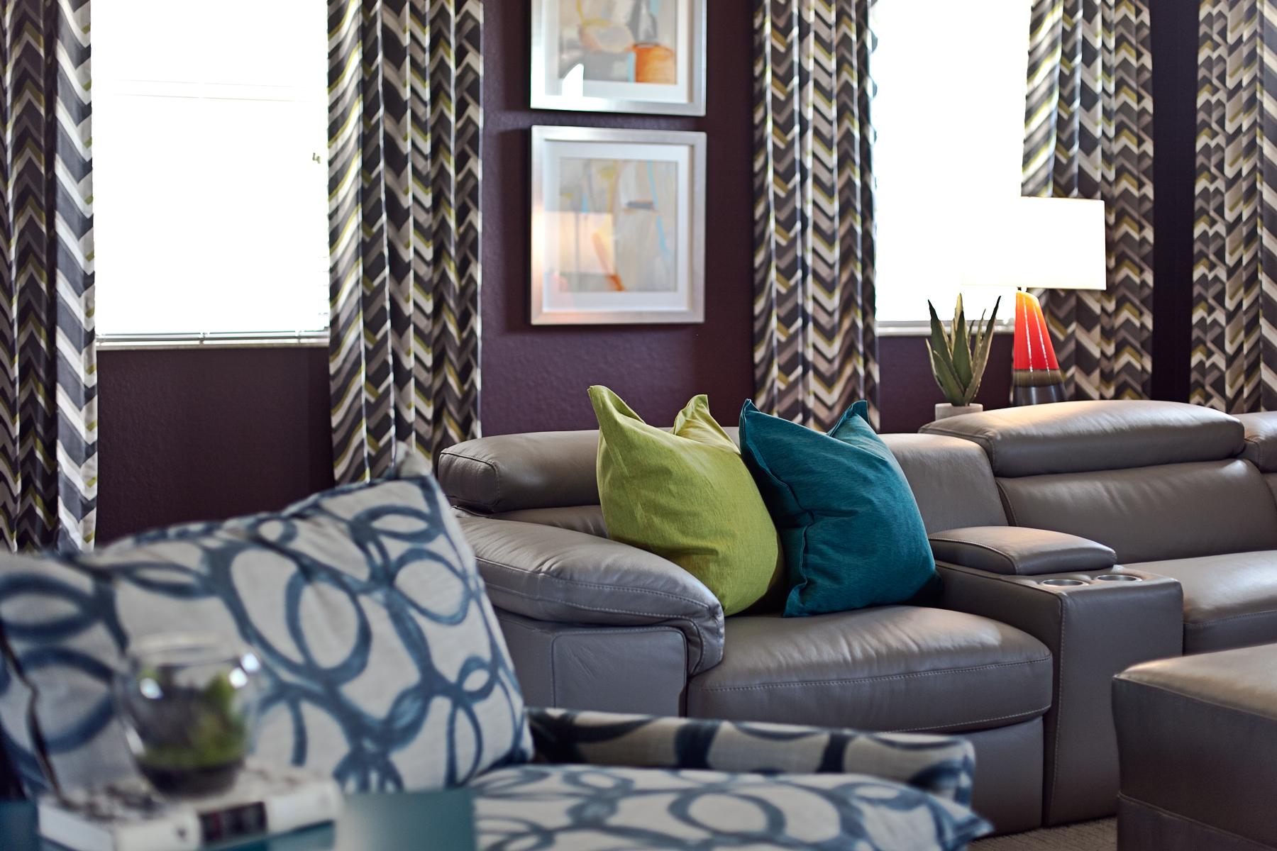 colorful media room interior design