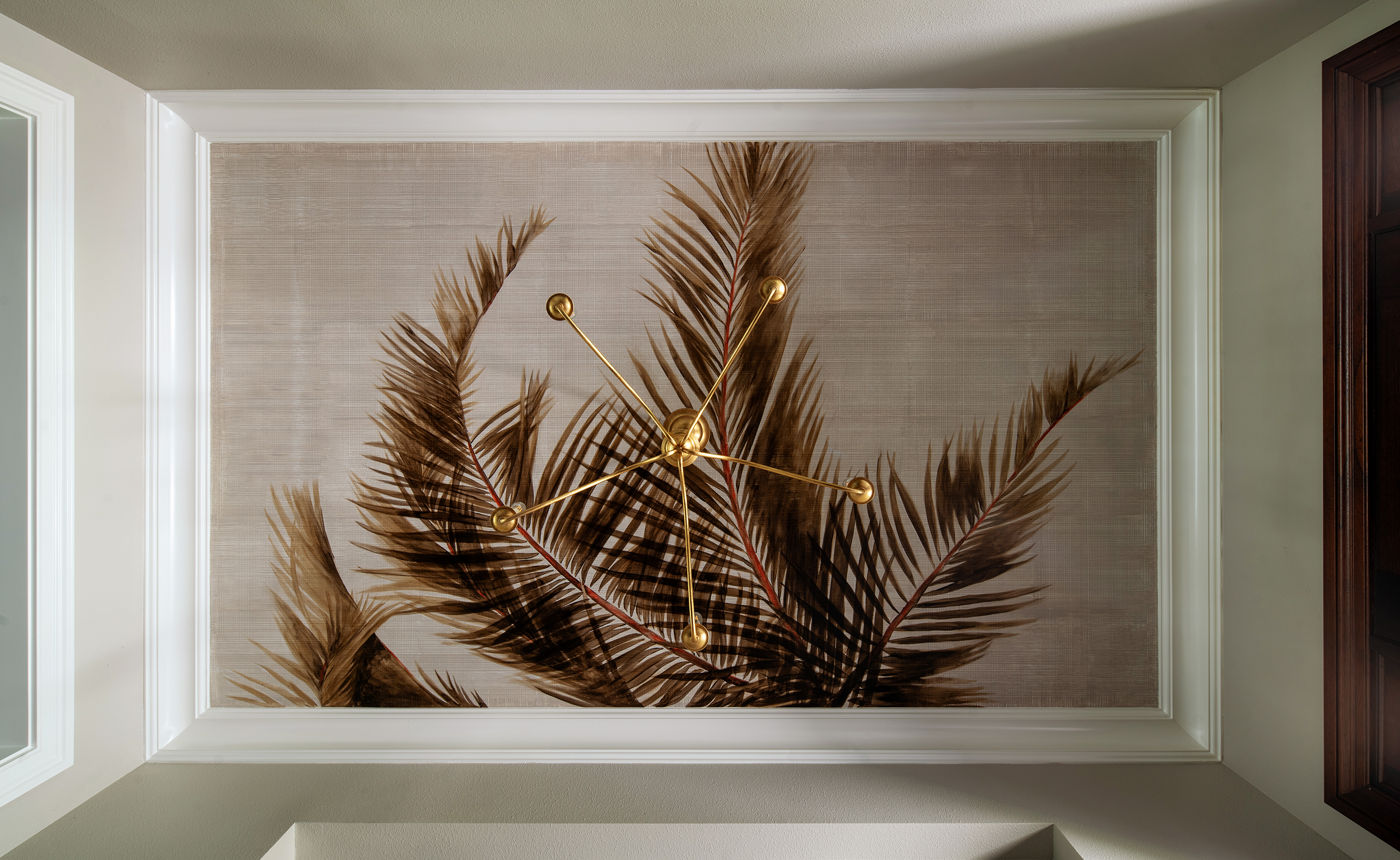 LISA GILMORE DESIGN - HAND PAINTED PALM TREES ON FOYER CEILING ENTRY