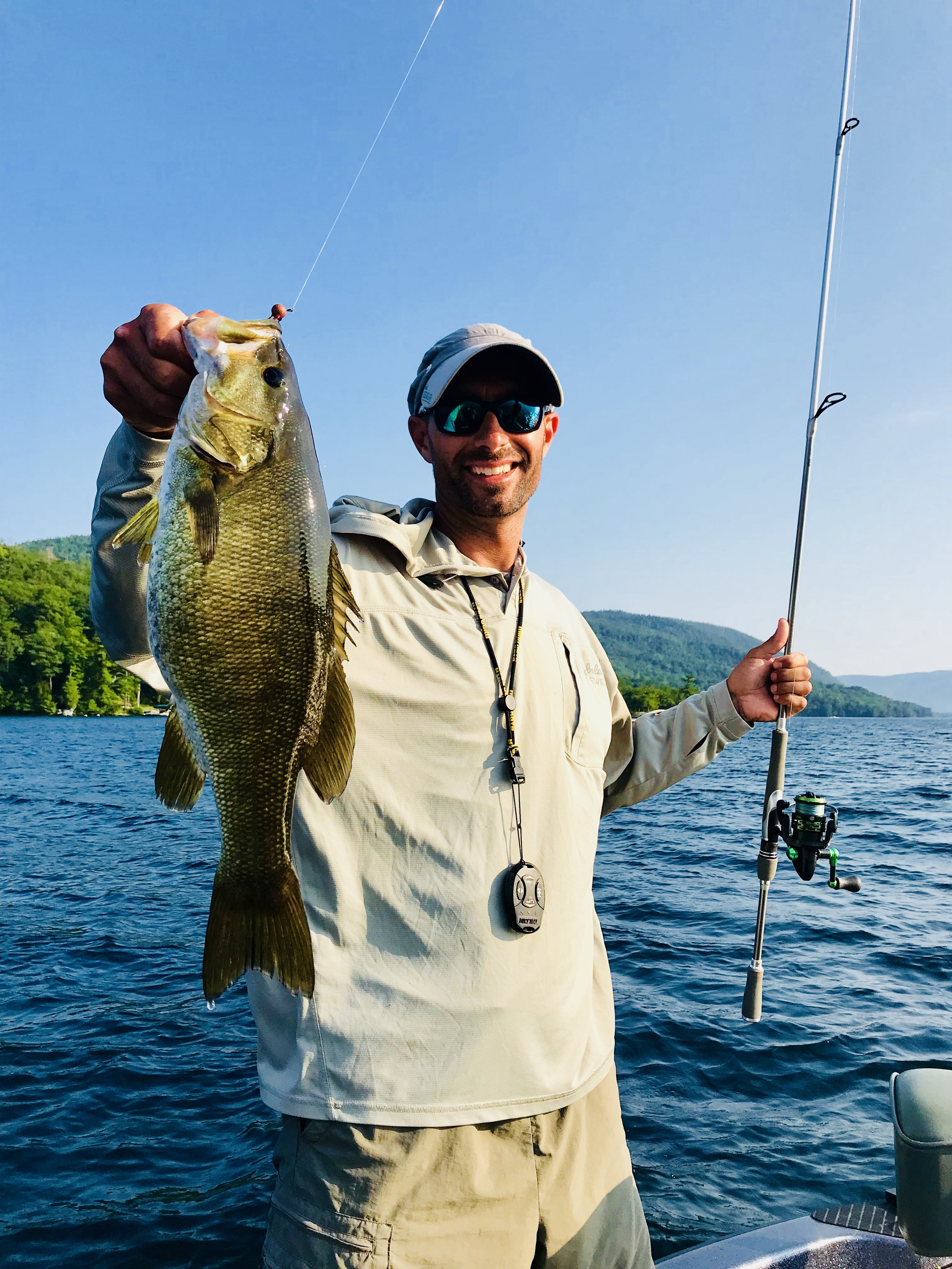 This big smallie fell prey to a hair jig fished in 30 fow.