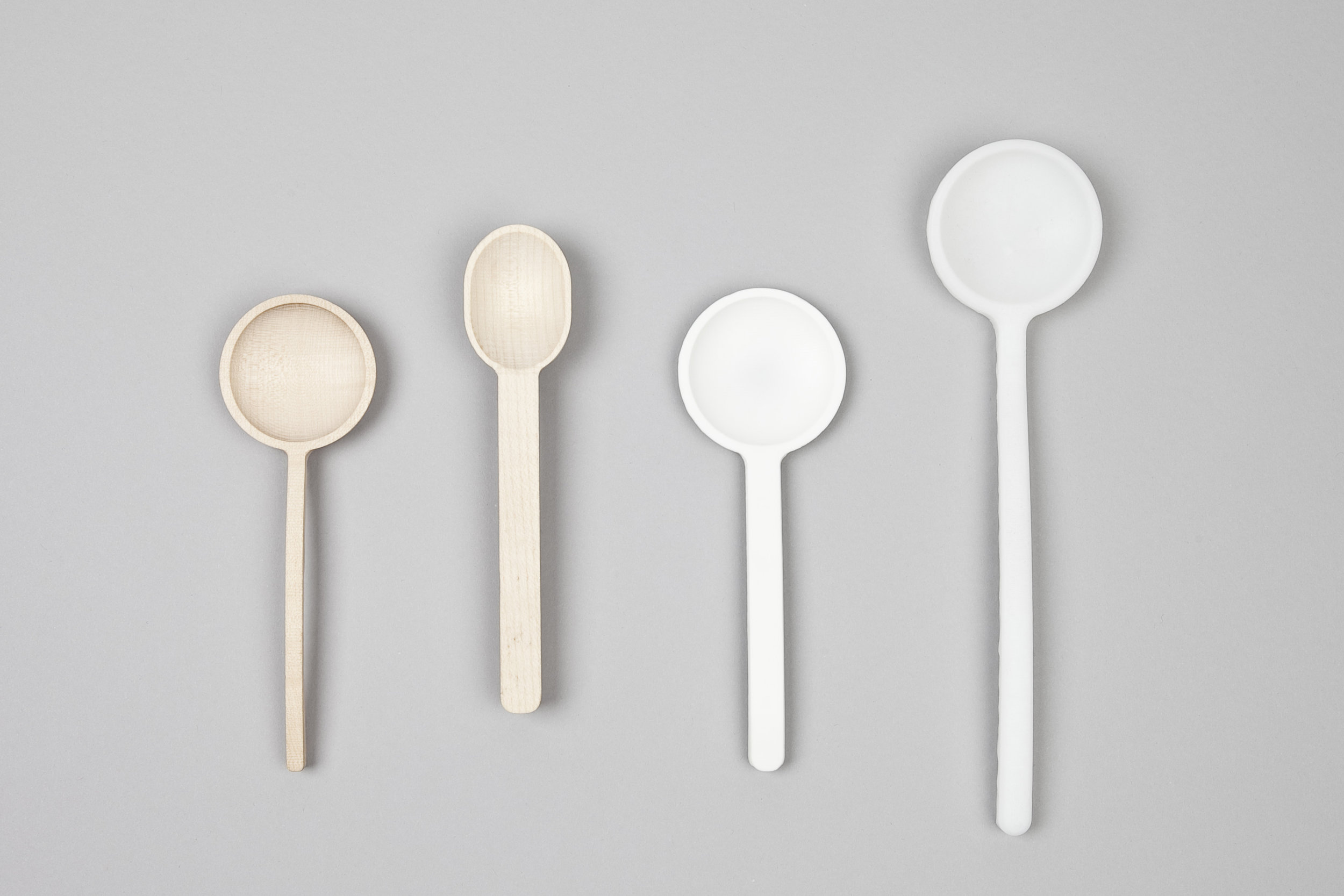 2013 / Spoons / Wood, polyethylene and DuPont Corian / Photography: Michal Florence Schorro   Parity is an exercise made in safe-food materials as wood, polyethylene and DuPont Corian where half of each spoon is handmade using carving and sanding techniques and the other half is made using CNC milling, in this way the spoons acquire a duality and an encounter between what is machine made and handmade, both of them complement each other giving the spoons a particular aesthetics.