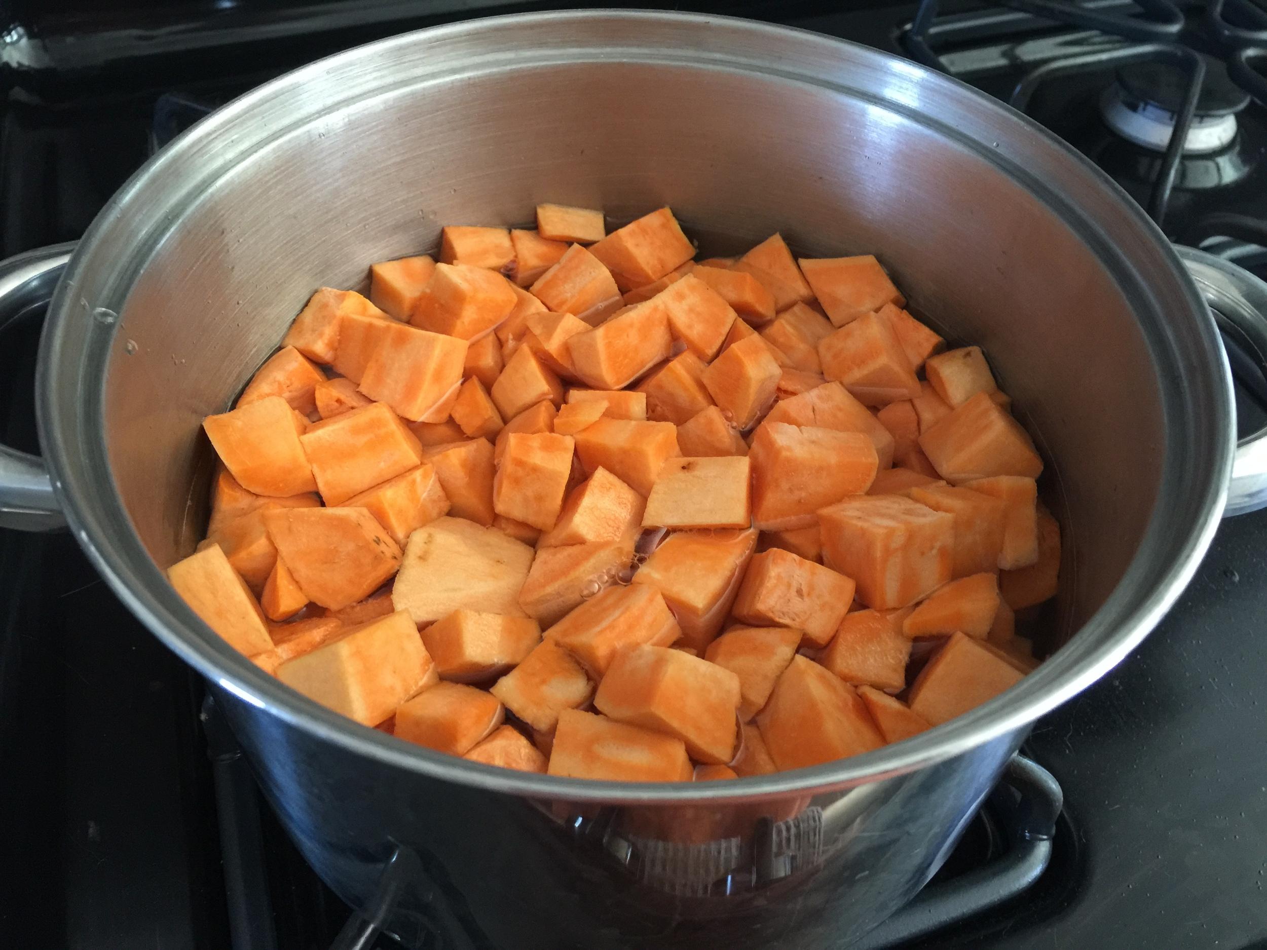 cubed sweet potato