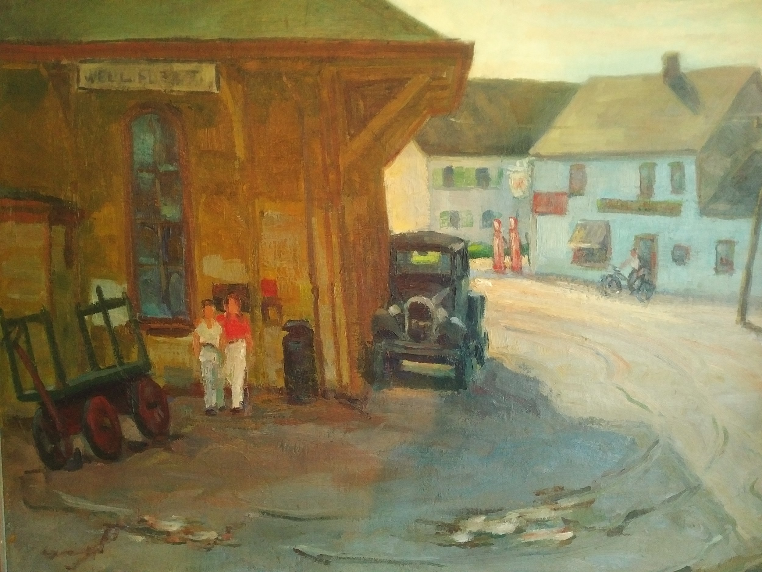 View of the depot. Painting on loan from the collection of M. Parlante