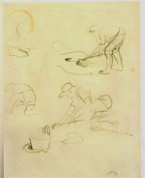 "These expressive pencil studies for ""The Clam Diggers"" were donated by Tom Broker in 2013."