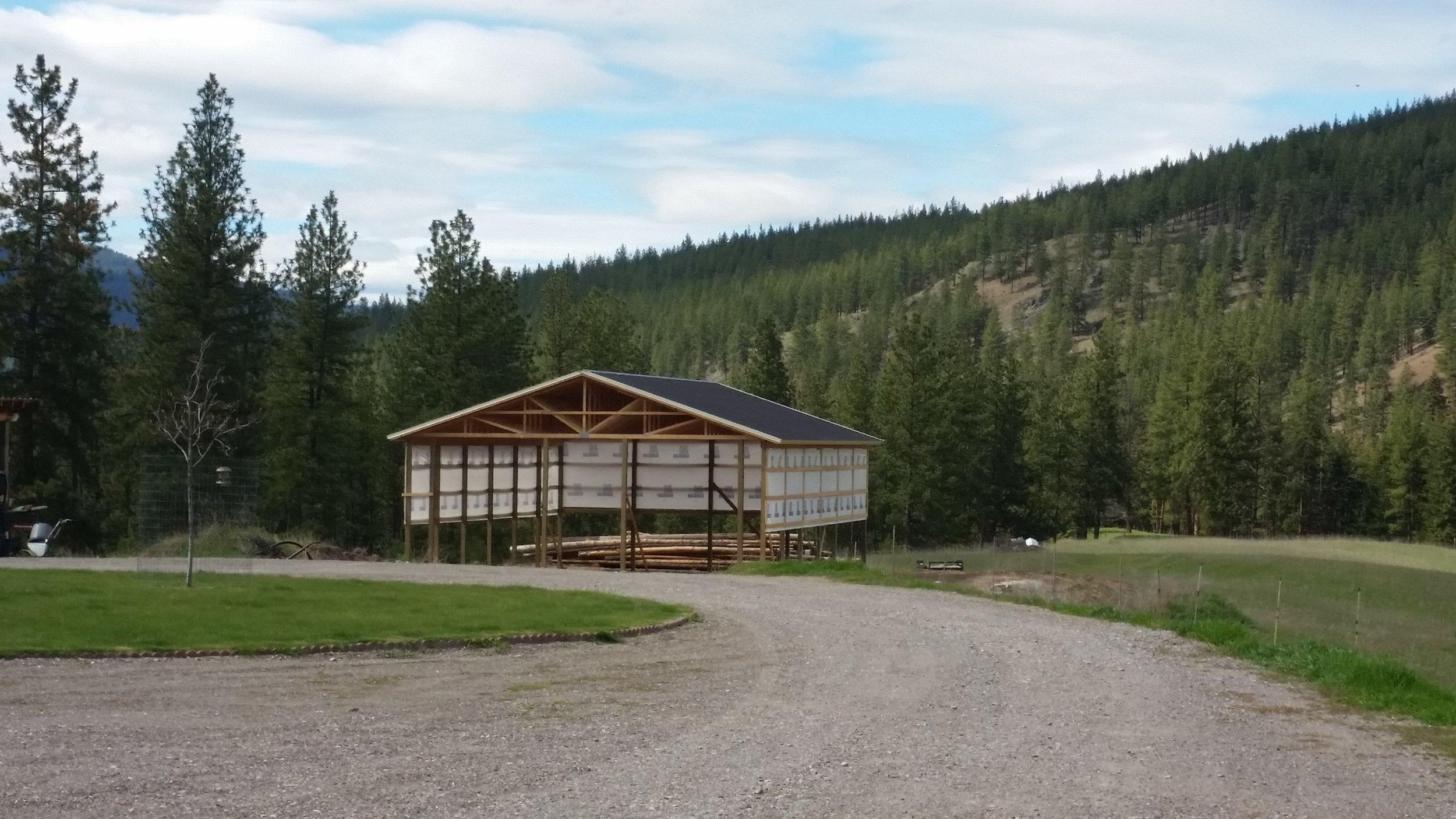 pole barn with walls