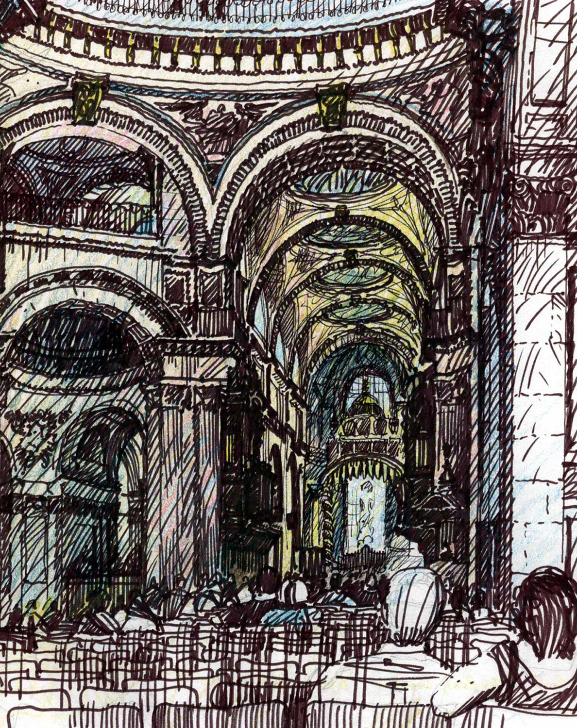 St. Paul's Cathedral, London.  Felt-tip pen and colored pencil.