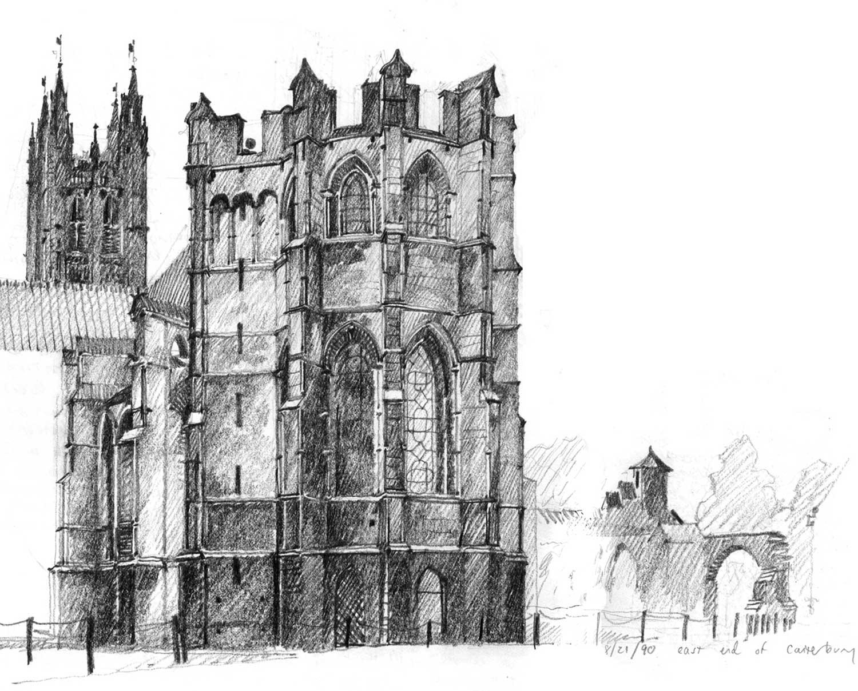 Canterbury Cathedral, Trinity Chapel, Canterbury, England.  Pencil.