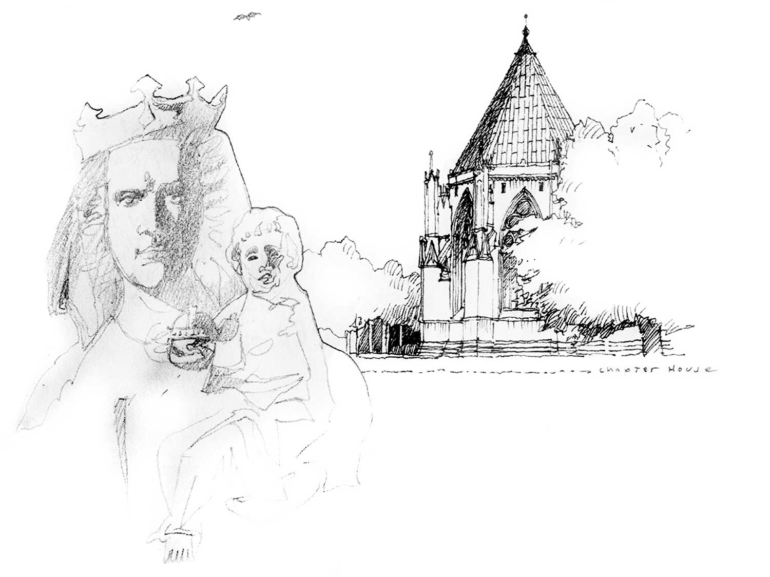 York Minster Chapter House and sculpture, York, England.  Felt-tip pen and pencil.