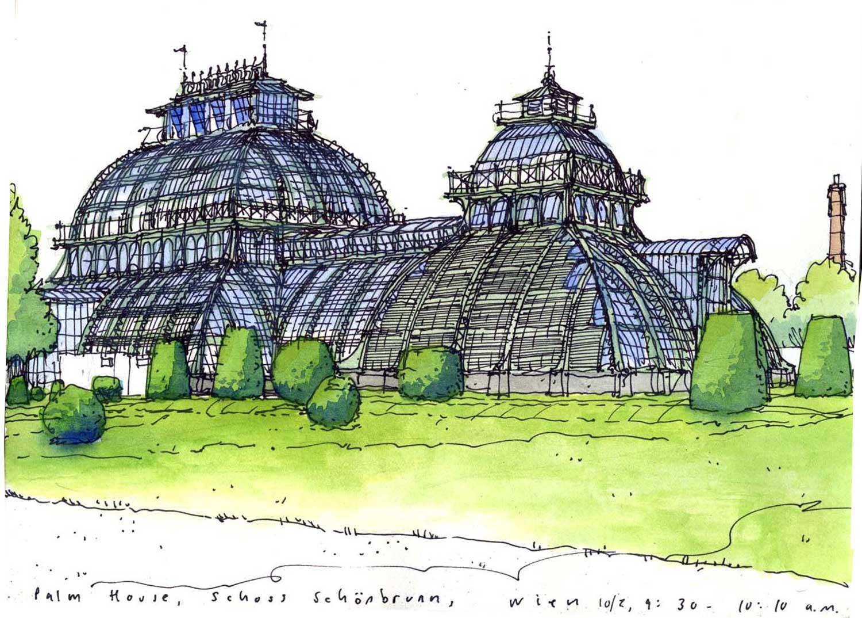 Palm House as Schloß Schönbrunn, Vienna, Austria.  Sharpie and watercolor.