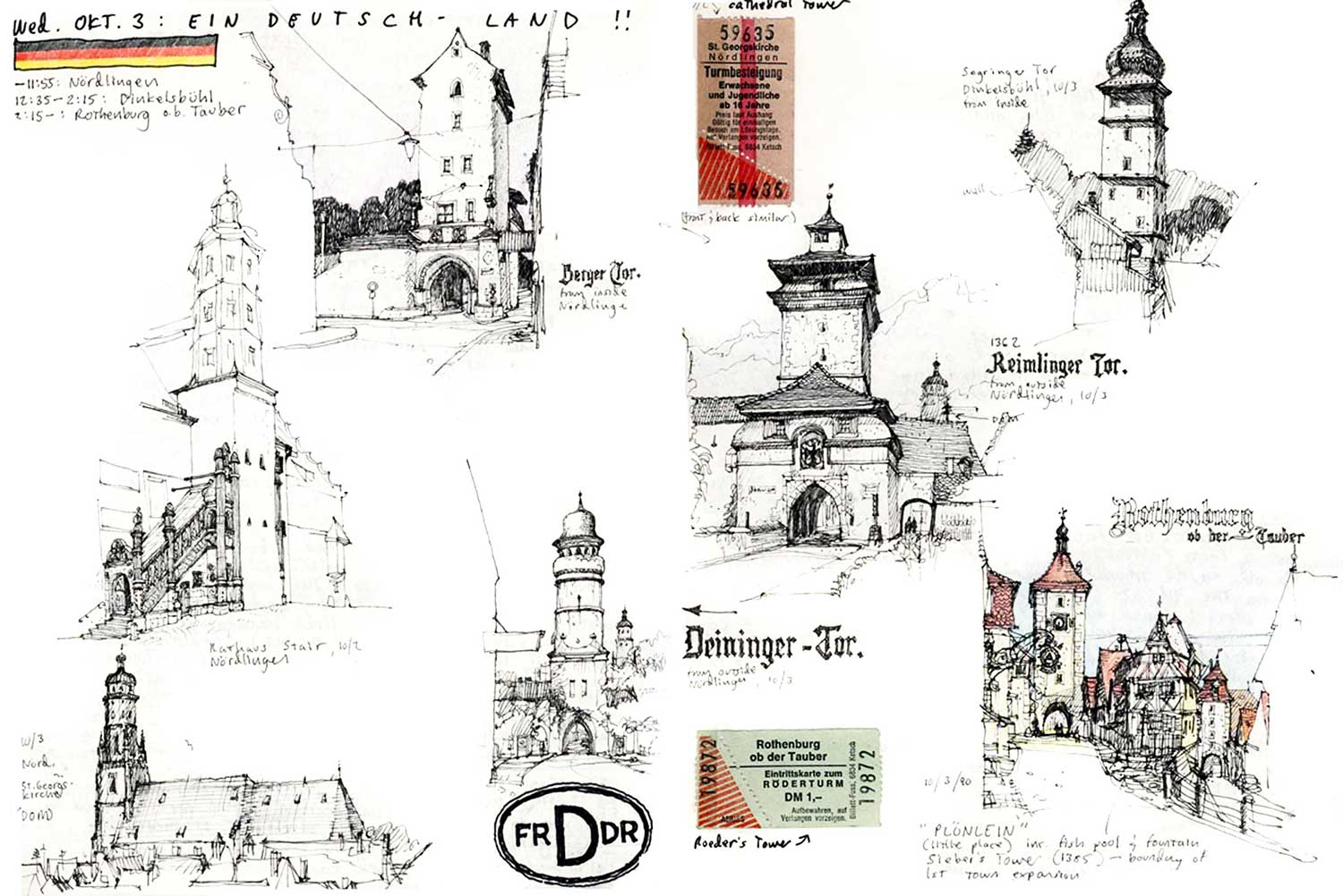 Various gates and towers, Romantic Road, Germany.  Felt-tip pen and pencil.