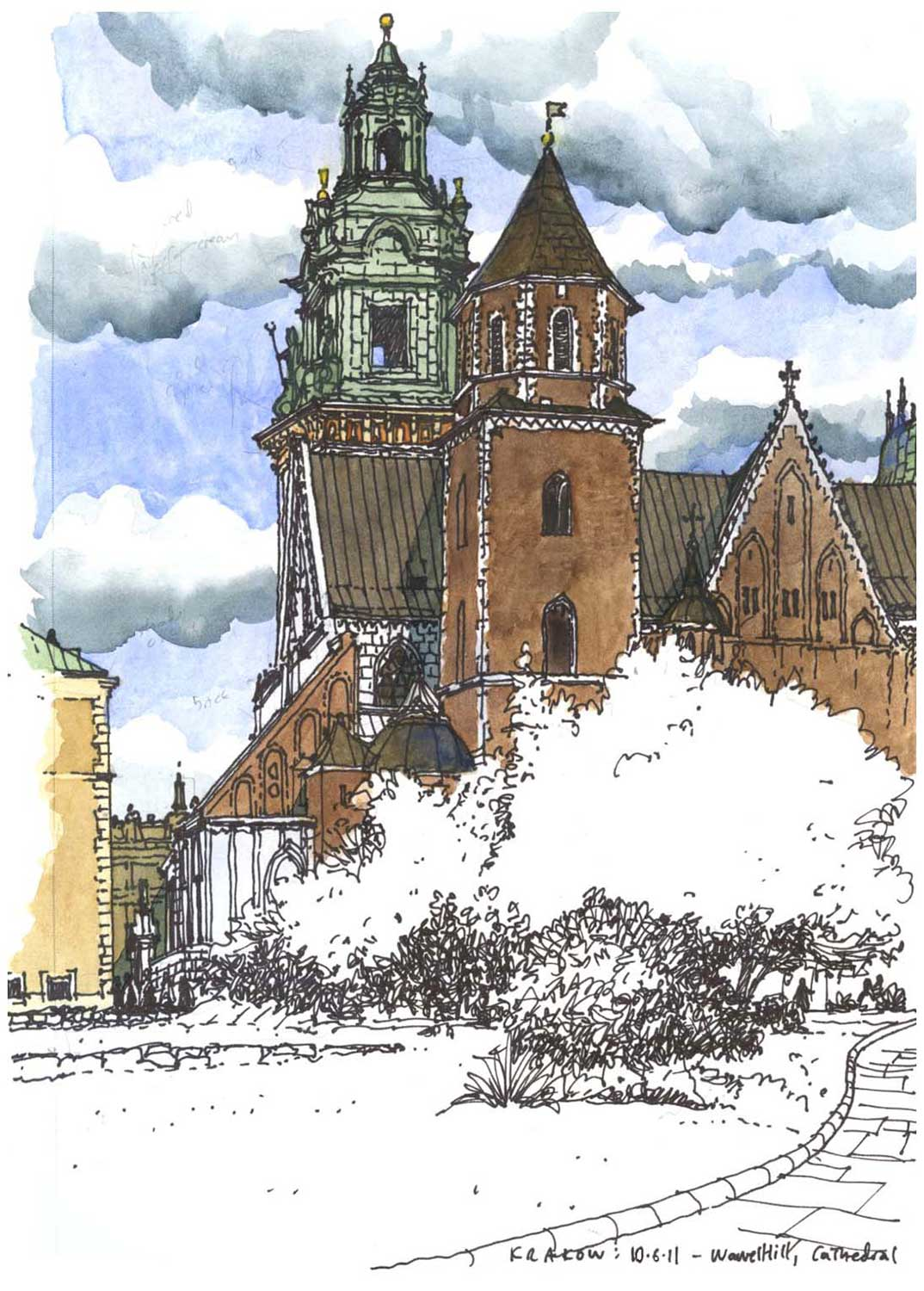 Wawel Cathedral, Krakow, Poland.  Sharpie and watercolor.