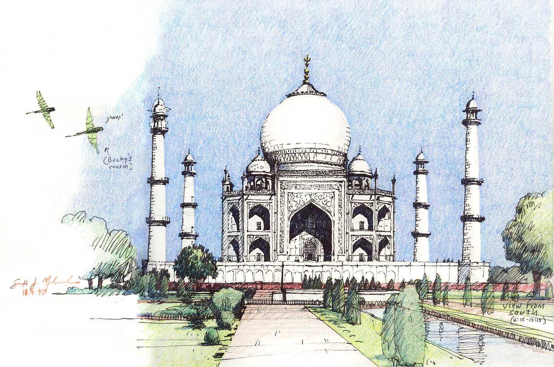 Taj Mahal, Agra, India.  Felt-tip pen and colored pencil.